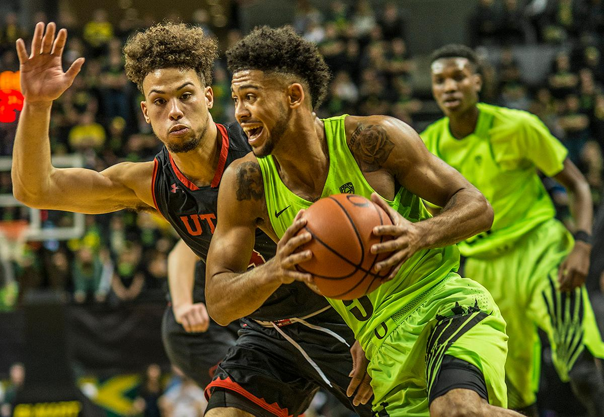 Oregon Ducks Tyler Dorsey (#5) makes his way to the basket. The Oregon Ducks beat the Utah Utes 79-61 on Thursday night at Matthew Knight Arena. The victory was the 41st consecutive win for the Ducks at Matthew Knight. Dillon Brooks scored 20 points, Jordan Bell scored 17 points, and Tyler Dorsey ended the game with 16 points.  Photo by Rhianna Gelhart, Oregon News Lab