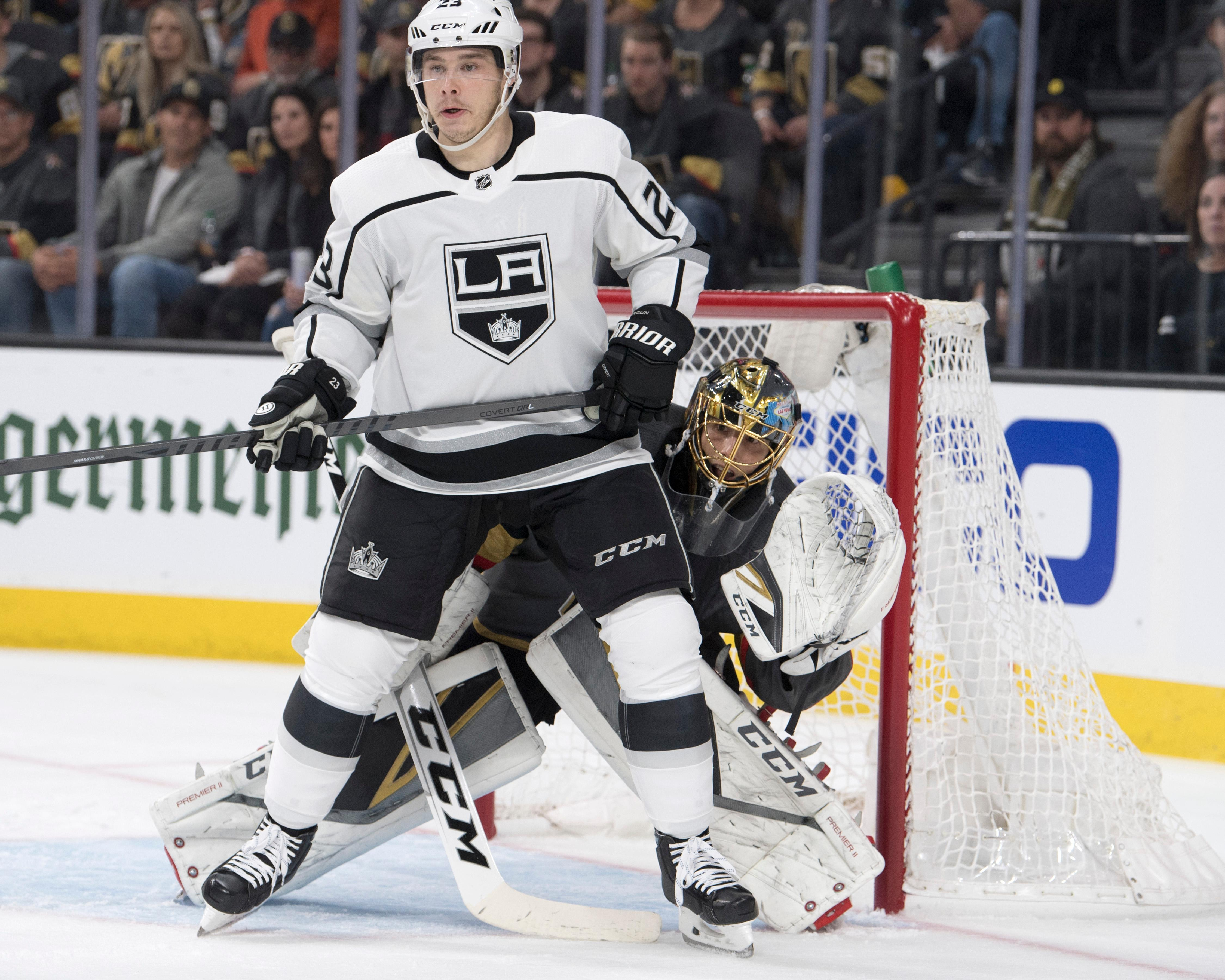Vegas Golden Knights goaltender Marc-Andre Fleury (29) tries to look around Los Angeles Kings right wing Dustin Brown (23) during the first period of Game 1 of their NHL hockey first-round playoff series Wednesday, April 11, 2018 at T-Mobile Arena. The Knights won 1-0. CREDIT: Sam Morris/Las Vegas News Bureau