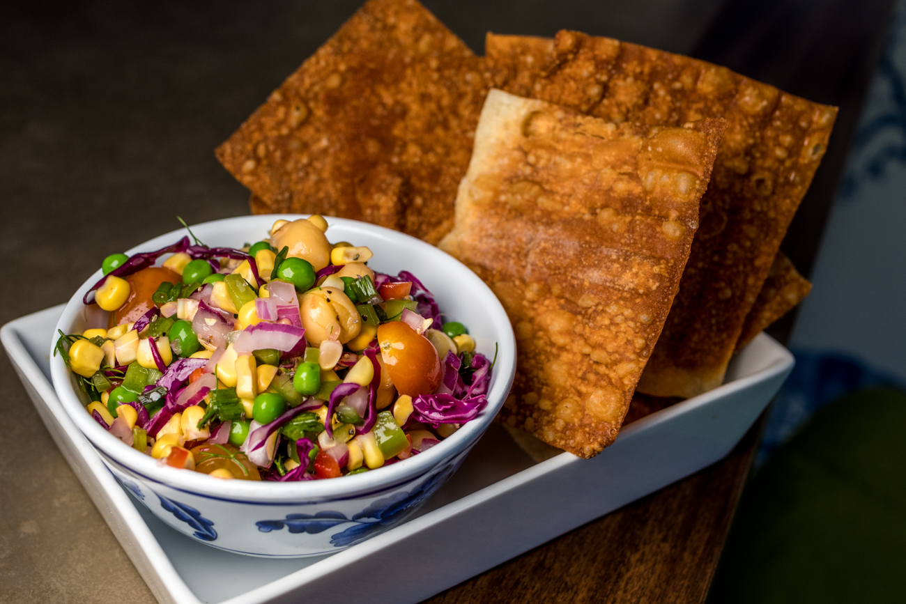 Corn Chow Chow: fresh and pickled veggie relish with fried wonton chips / Image: Catherine Viox // Published: 8.2.20
