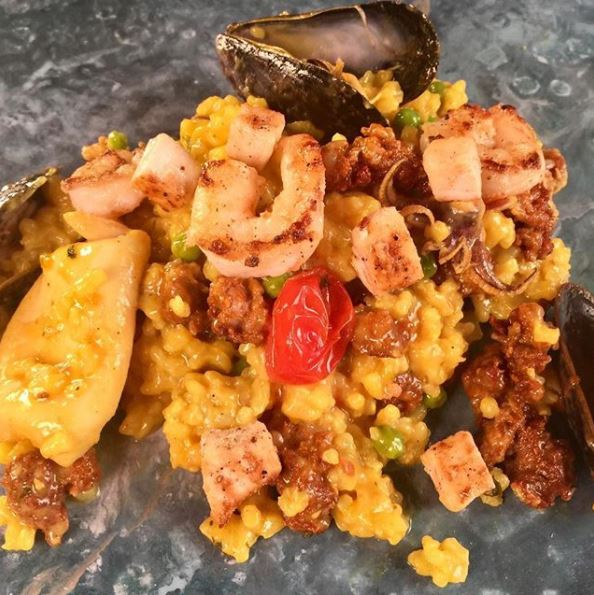He chose to make a family favorite dish, seafood paella with chorizo, shrimp, calamari, mussels, green peas and curry butter.{&nbsp;}(Image: Courtesy The Chew){&nbsp;}<p></p>