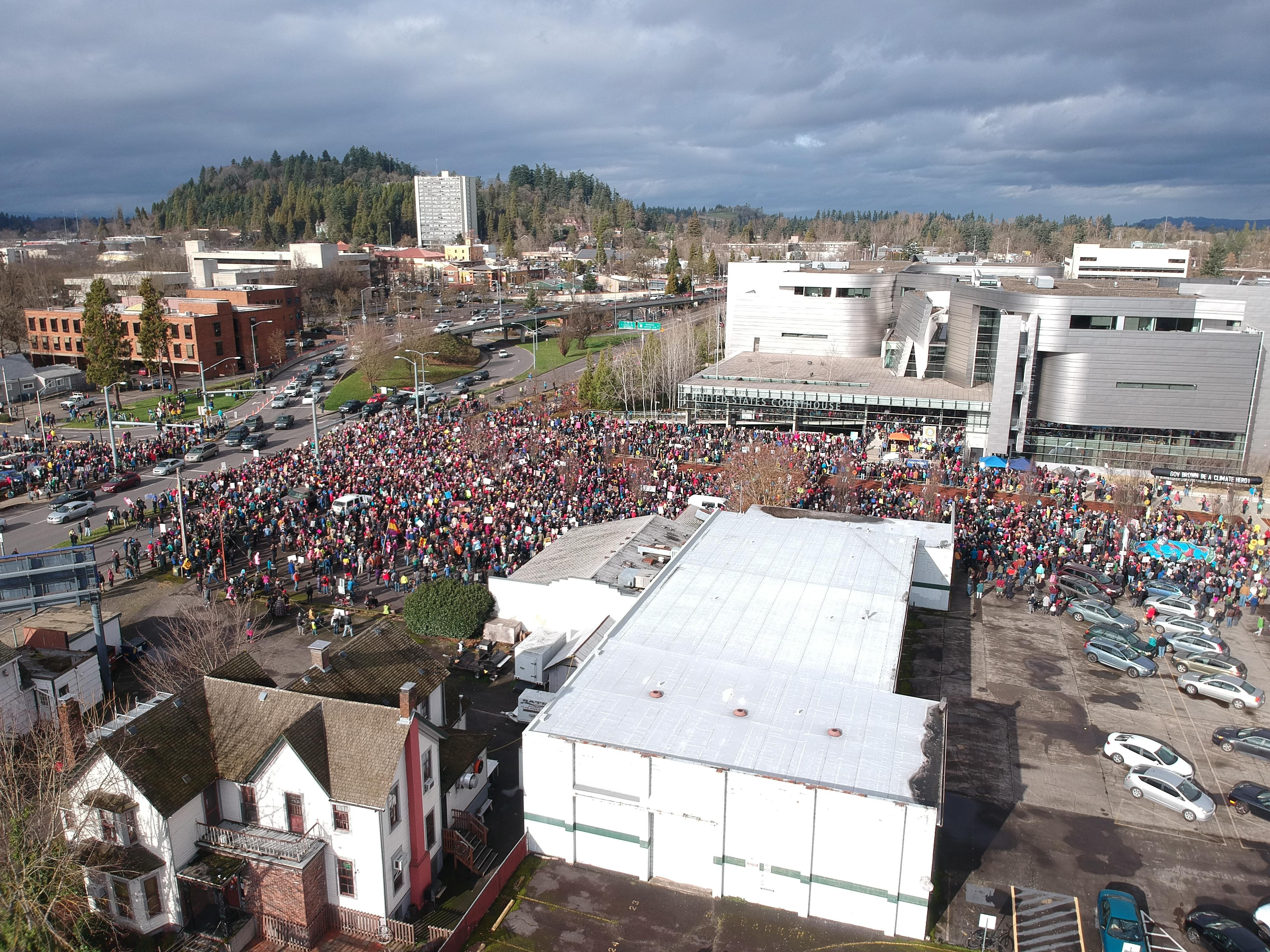 Drone Footage of the Eugene Women's March, courtesy of Preston Burton.<p></p>