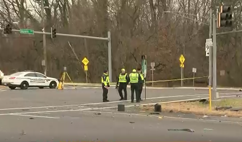 The scene of a fatal crash involving two pickup trucks in Montgomery County. (Photo, ABC7)