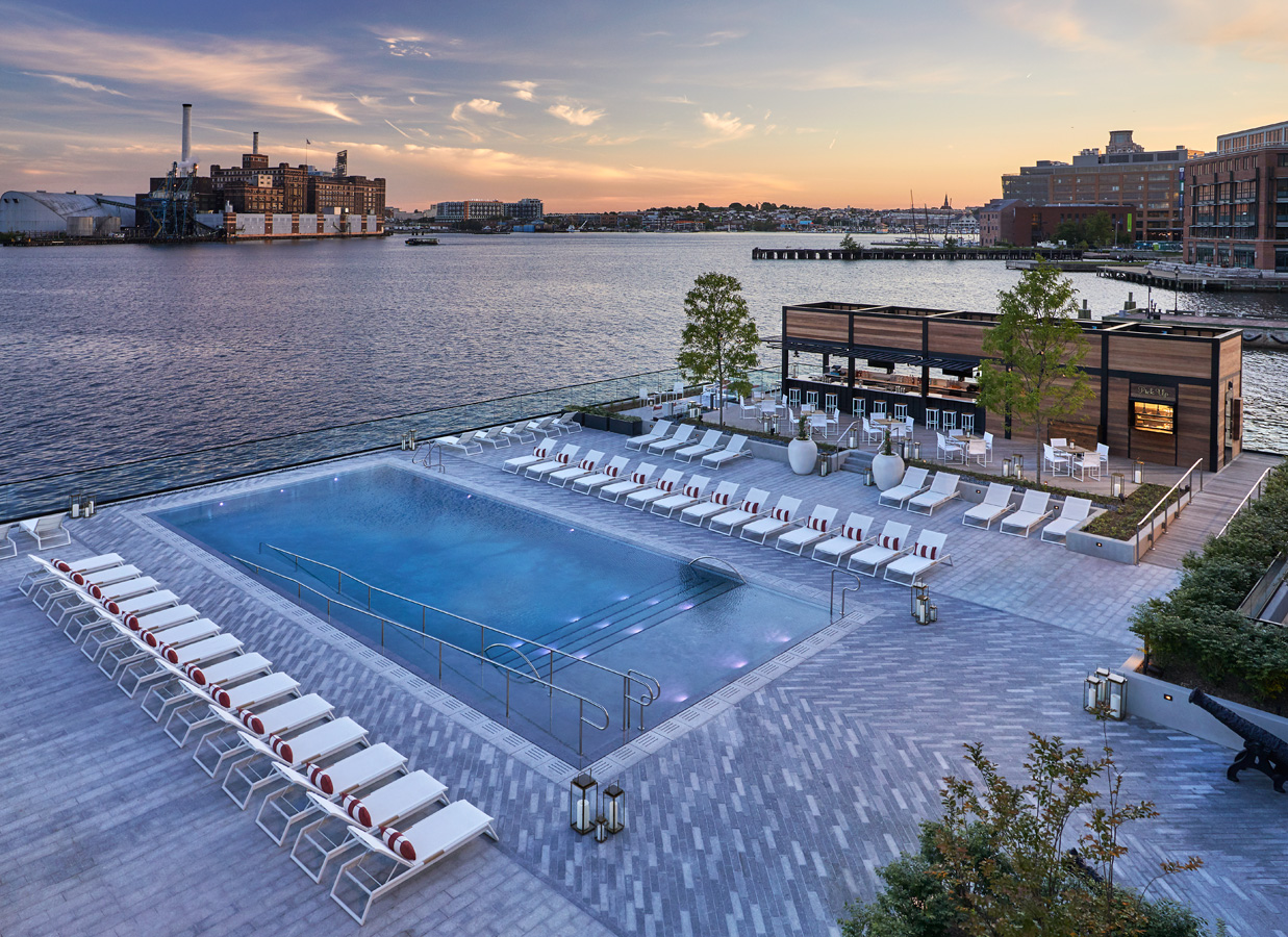 In warmer months, you can lounge at the Pendry's waterside pool and bar and gaze at the passing ships. Rooms start around $300 and go up from there depending on location and size. Hop a water taxi just down the block, or set out around the city or set out on foot to explore. (Image: Courtesy The Pendry)