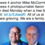 TV anchor, photojournalist are killed while covering a story after tree falls on SUV