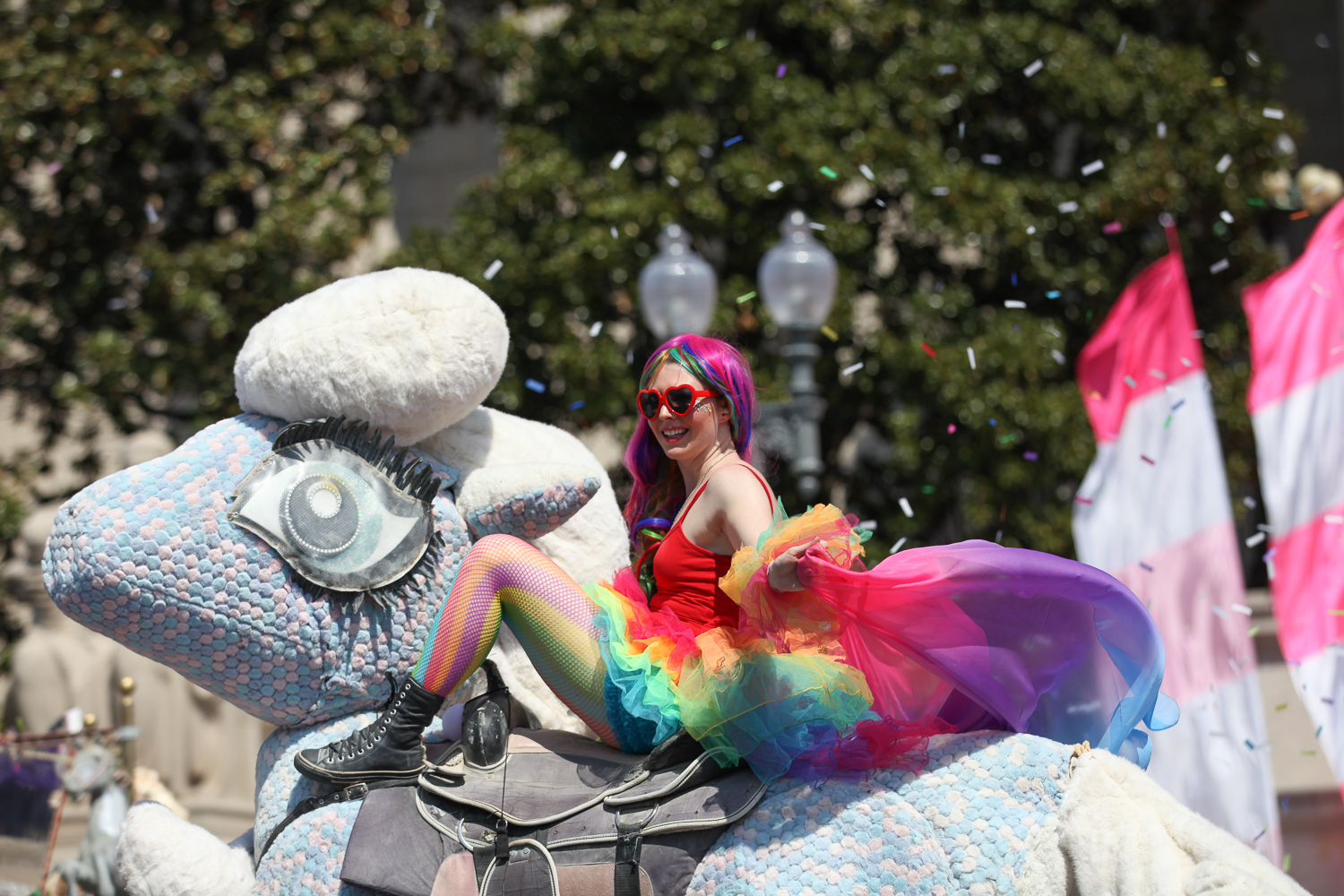 Performers clad in bright hues and took over Constitution Avenue today for the annual Cherry Blossom Parade. Thousands of spectators lined the streets to watch marching bands, beauty queens, jump ropers, skateboarders and everything in between. (Amanda Andrade-Rhoades/DC Refined)