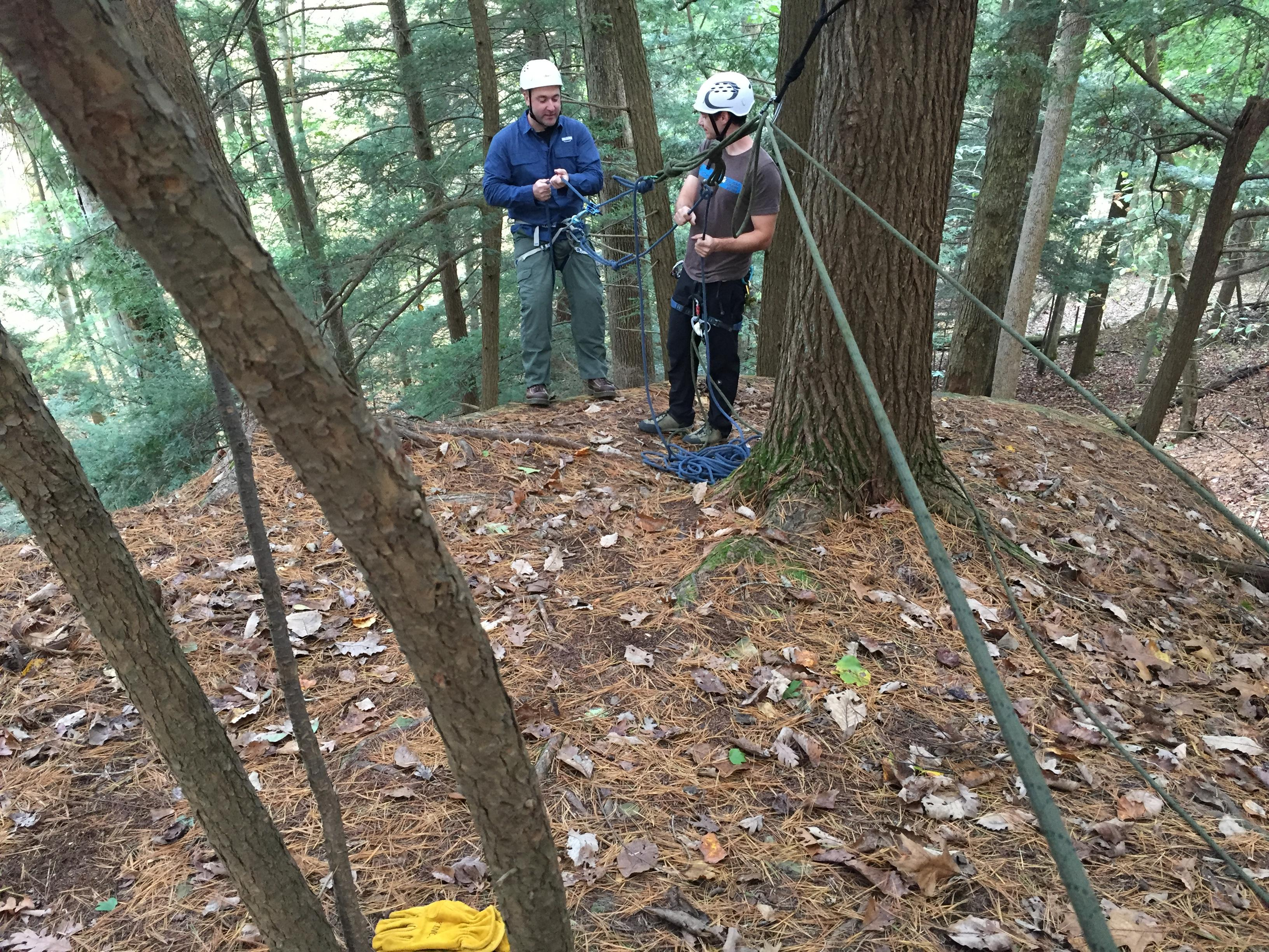 Climbing guide John Starkweather instructs beginning climber Ken Zebo at North Bend State Park. (WCHS/WVAH)<p></p>