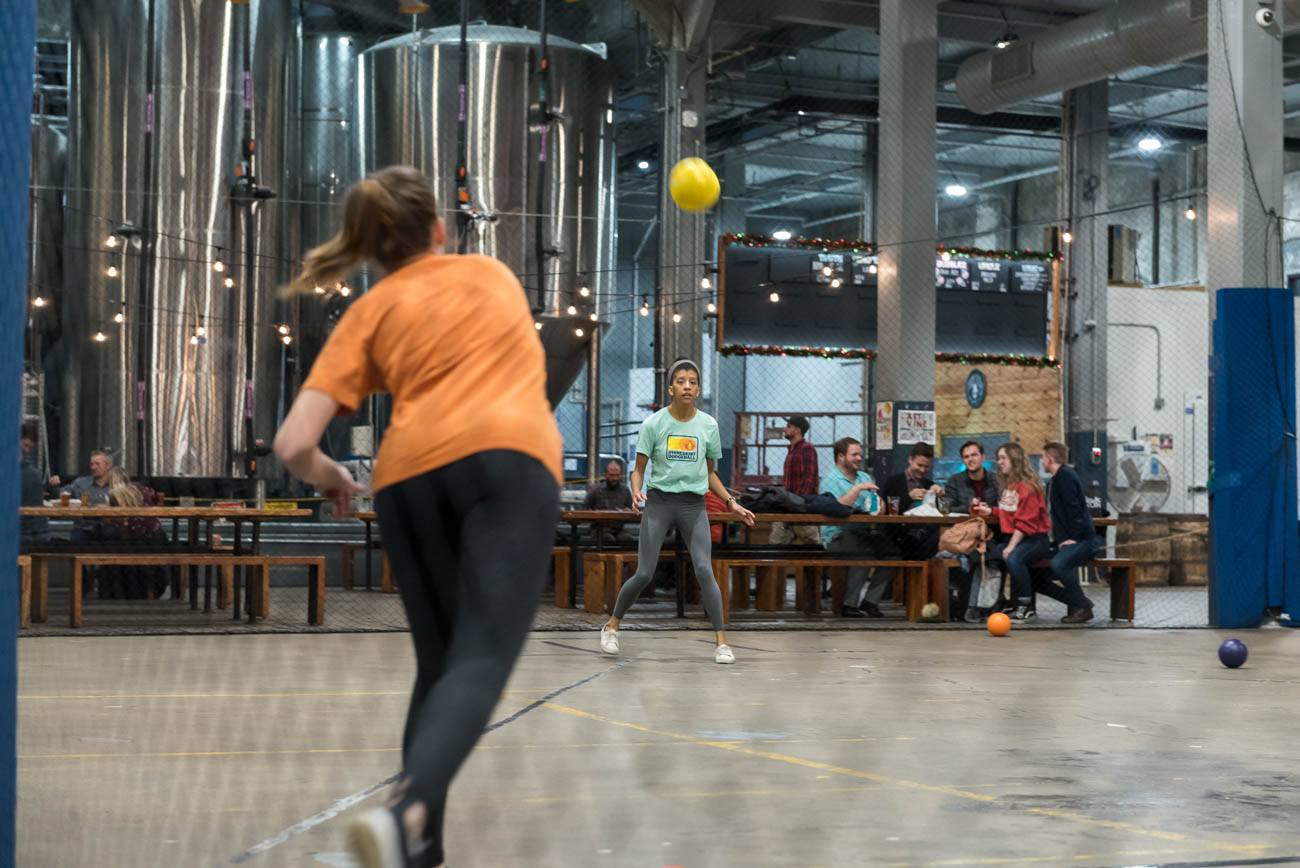 The sport of dodgeball is believed to have originated in Africa, where it was played with rocks instead of balls. Unlike the popular movie, dodgeball still lacks official rules and regulations. For Rhinegeist's league, there are six players per team with at least two required to be female. While registration to play has passed, spectators with a taste for beer are strongly encouraged. ADDRESS: 1910 Elm Street (45202) / Image: Mike Menke // Published: 12.1.18<br>