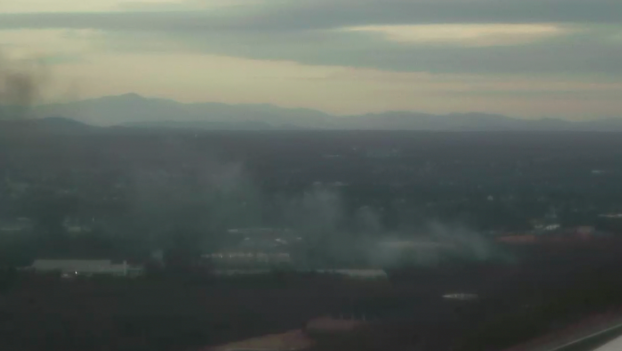 Black smoke coming from the vehicle fire on Route 460 West seen from Lynchburg tower camera (Photo: WSET)