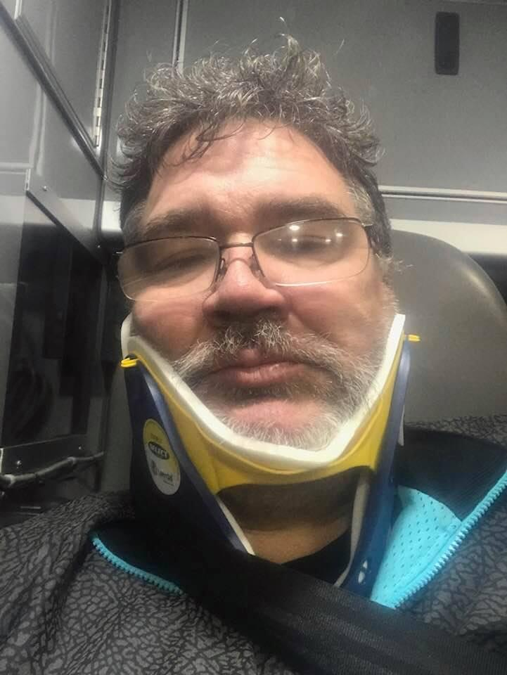 Patrick Sheehan, the driver of the Chevy Tahoe that was hit by a semi-truck on Interstate 84 on Monday, posted this picture of himself on Facebook after the crash.
