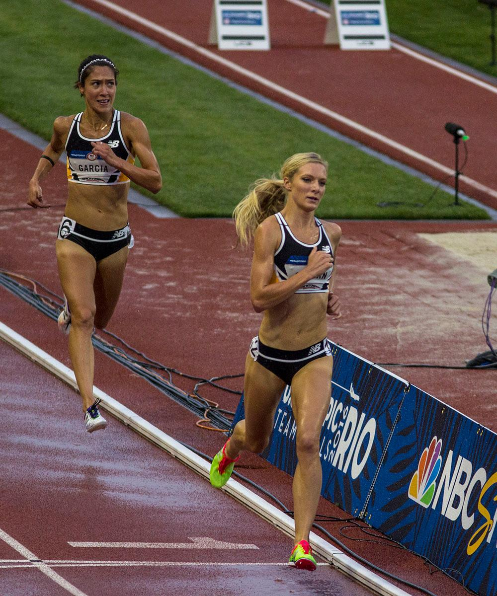 Stephanie Garcia, left, and Emma Coburn, right, race in the Women's 3000m Steeplechase final. Garcia finished fifth with a time of 9:28.99 and Coburn finished first with a time of 9:17.48. Day seven of the U.S. Olympic Track and Field Trial took place Thursday at Hayward Field in Eugene, Ore. Events continue through July 10. (Photo by Amanda Butt)