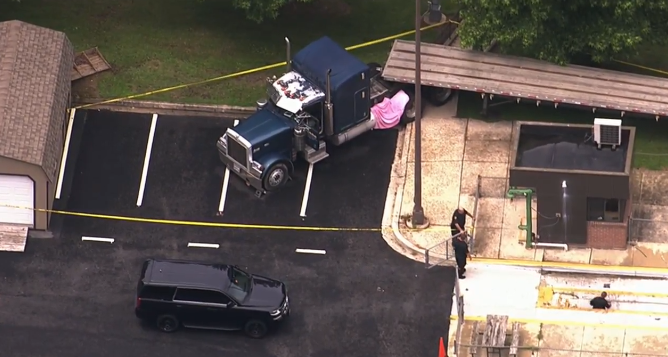Person dies after being pinned under a vehicle in Clarksburg, MD.{ } Friday, July 6, 2018 (SkyTrak7){ }