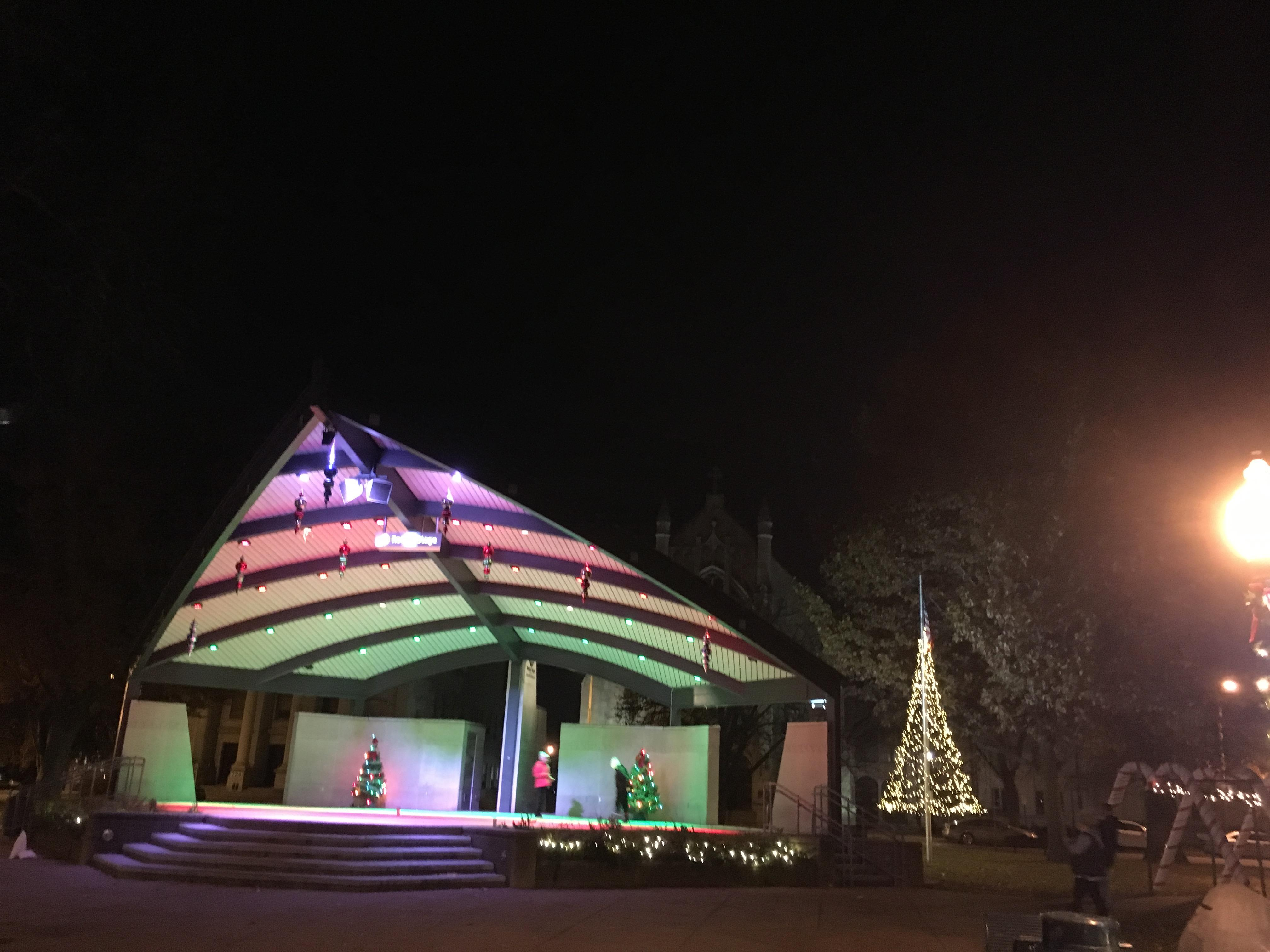 Bronson Park turned into a Christmas Wonderland on Friday, Nov. 23, 2018,  as the tree and other holiday lights were switched on shortly after sunset. (WWMT/Jason Heeres)