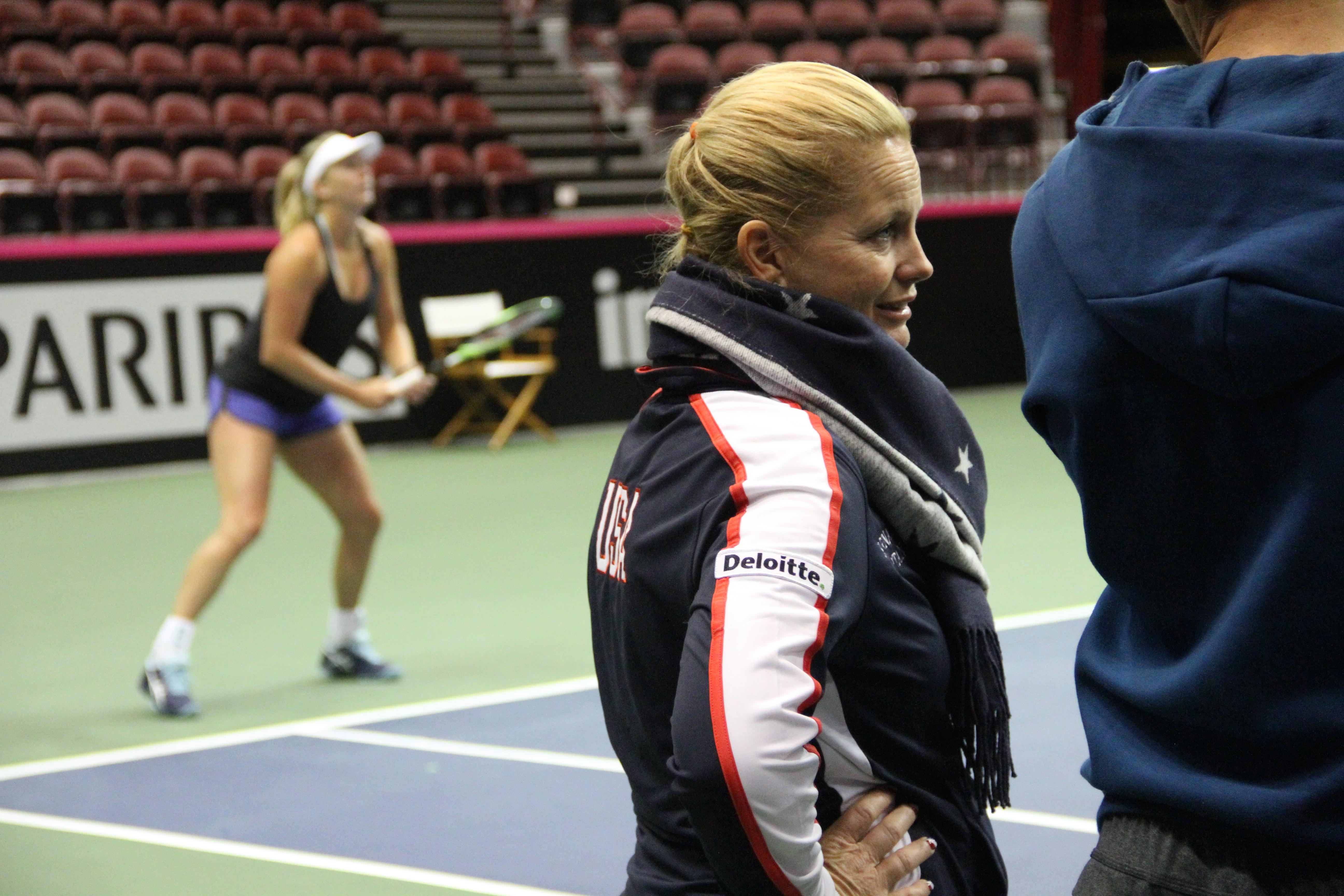 CoCo Vandeweghe practices at the US Cellular Center on Feb. 7, 2018, as Captain Kathy Rinaldi looks on. (Photo credit: WLOS Staff)<p></p>