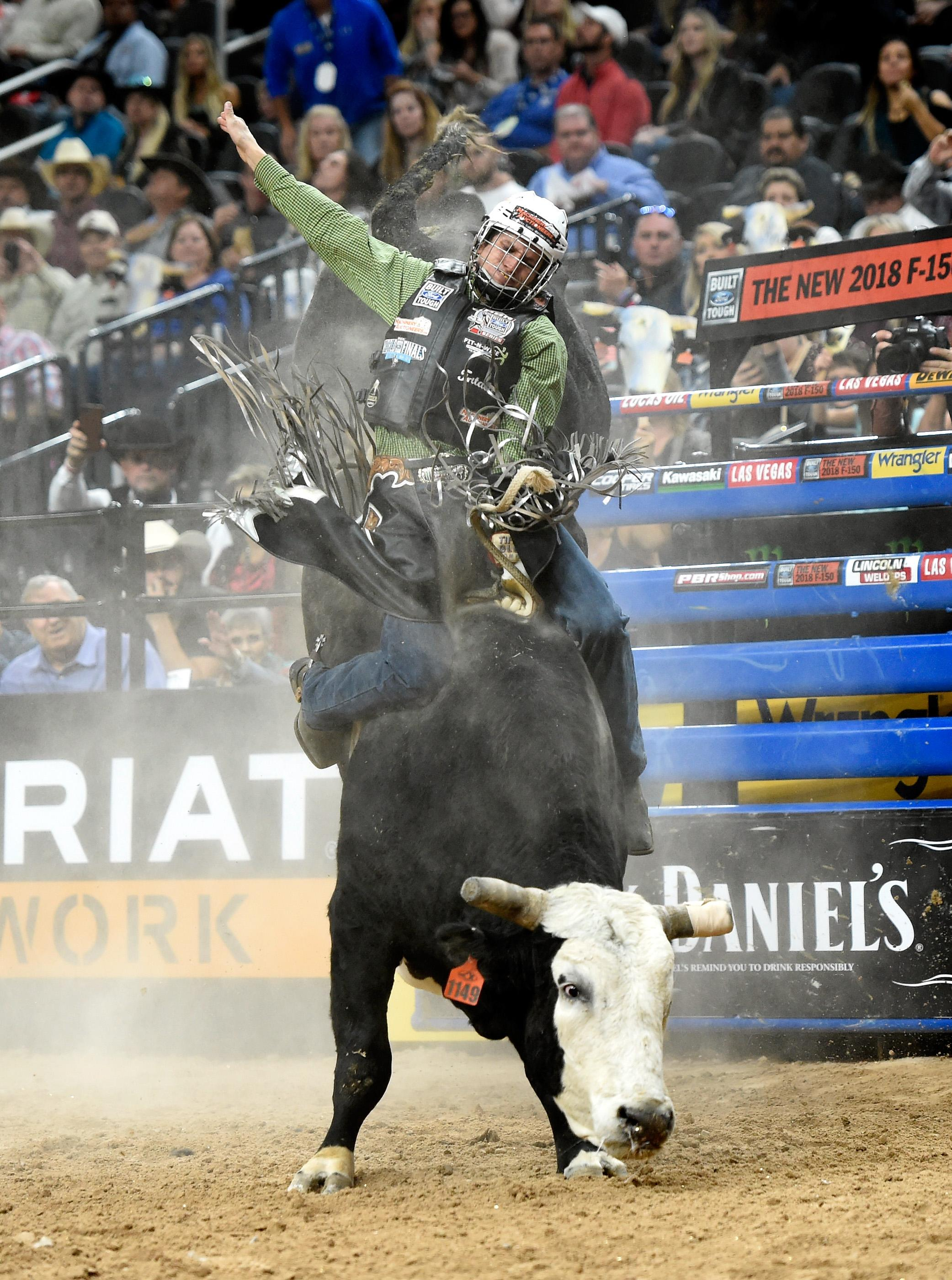 Dener Barbosa rides Pearl Harbor during the PBR World Finals at T-Mobile Arena Sunday, Nov. 5, 2017, in Las Vegas. [David Becker/Las Vegas News Bureau]