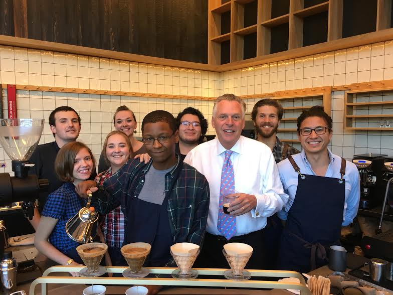 Virginia Governor Terry McAuliffe made a surprise visit to the new flagship store Sunday morning during training looking for a cup o'joe. He was given a pour-over of Skyline Overlook, a Nicaraguan medium roast. (Image: Courtesy Commonwealth Joe)
