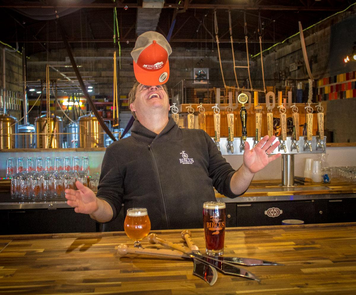 Paul Miller, owner and operator of Bircus Brewing Co., is able to balance a brewery, entertainment venue, and hat on his face all at once. / Image: Austin Coop // Published: 2.7.19