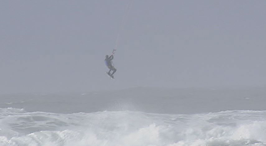 Got wind? Will kiteboard: Some hearty souls hit the beach Thursday as wind hit the Oregon Coast. (SBG)