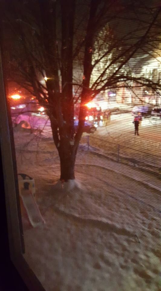 Many people were forced out of their apartment and out into the snow Sunday night due to a fire at Fox Glen Apartment complex in Saginaw Township. (Photo Credit: Felicia Lace){ }