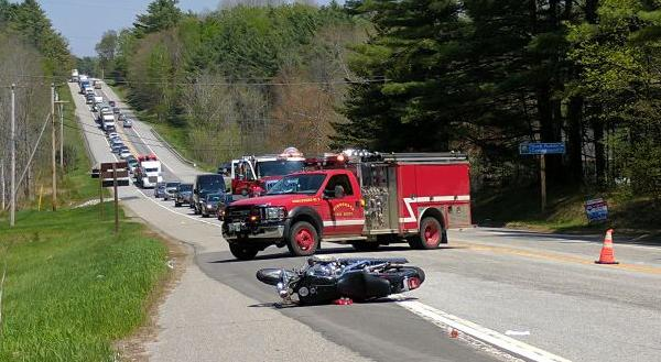 Traffic is backed up along Route 1 in Nobleboro for a motorcycle accident the afternoon of Thursday, May 18. (The Lincoln County News/Alexander Violo)