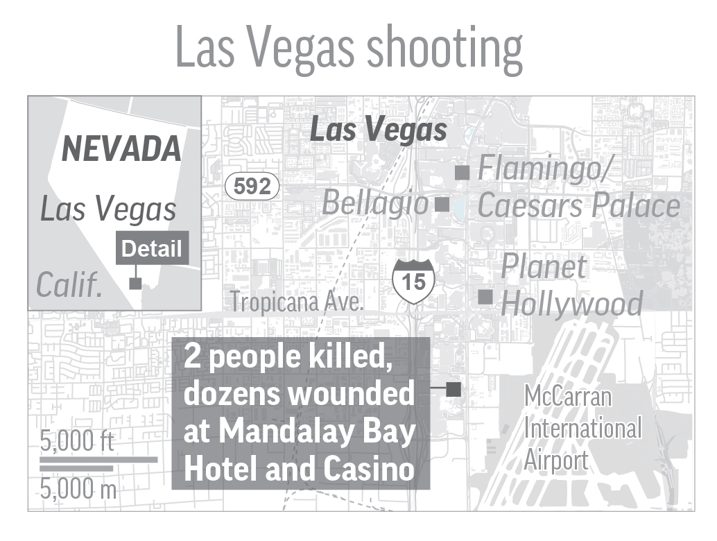 LAS VEGAS SHOOTING 100217: Map shows shooting at Mandalay Bay Hotel and Casino in Las Vegas; 2c x 2 1/2 inches; with BC-US--Las Vegas Shooting; JEM; ETA 3 a.m. SOURCE: maps4news/HERE. Editors Note: It is mandatory to include all sources that accompany this graphic when repurposing or editing it for publication