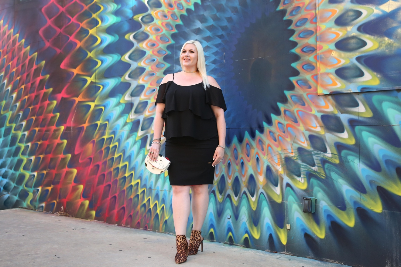 """My power color is black,"" explained Dani Sauter of Blonde in the District. The self-described curvy blogger also went with a custom-made pencil skirt from Zophia, a D.C.-based fashion designer. (Amanda Andrade-Rhoades/DC Refined)"