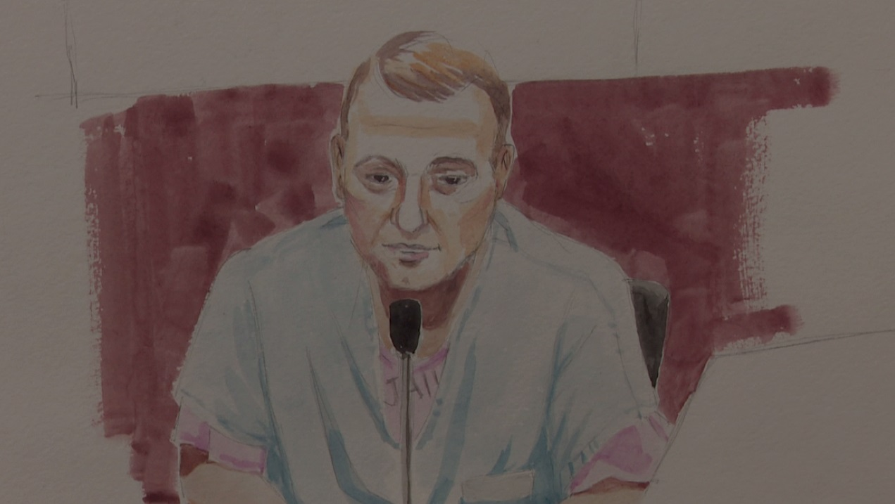 Ammon Bundy takes the stand in the Oregon refuge standoff trial on October 4 - (Sketch by Deborah Marble)