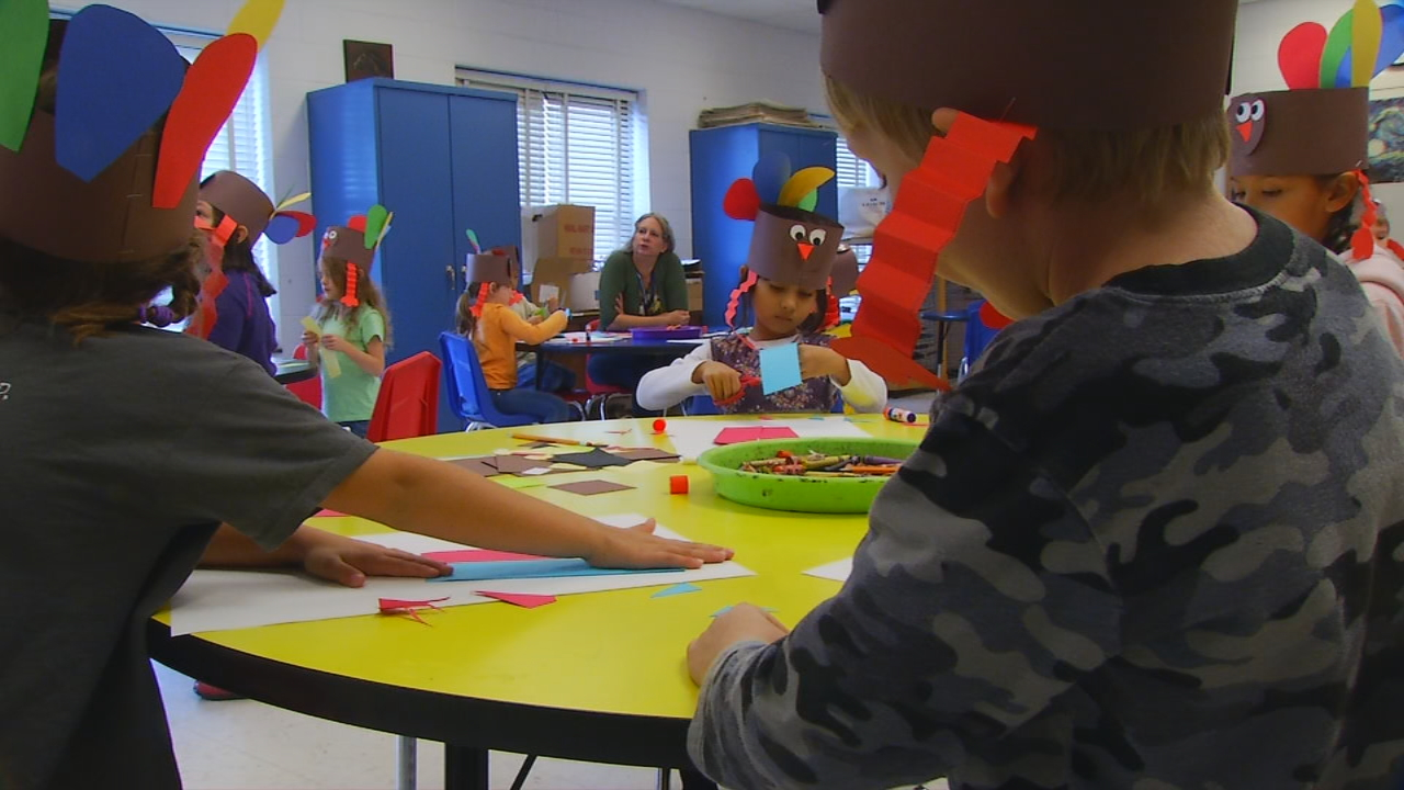 Students at Avery's Creek Elementary School are discovering there's more to Thanksgiving than turkey and dressing. (Photo credit: WLOS Staff)