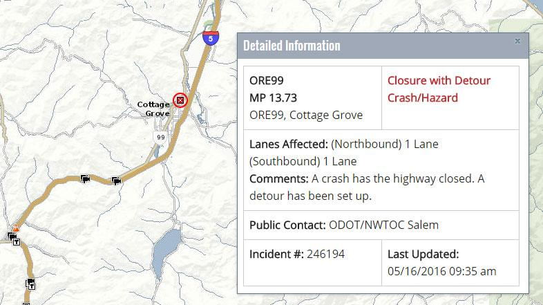 A 2-vehicle crash closed Hwy 99 north of Cottage Grove on Monday, May 16, 2016. (ODOT TripCheck)