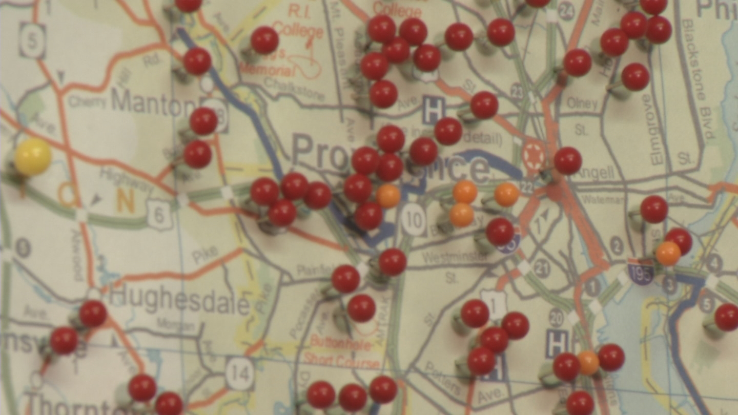 A map displays push pins where alleged predators have been arrested. (WJAR)