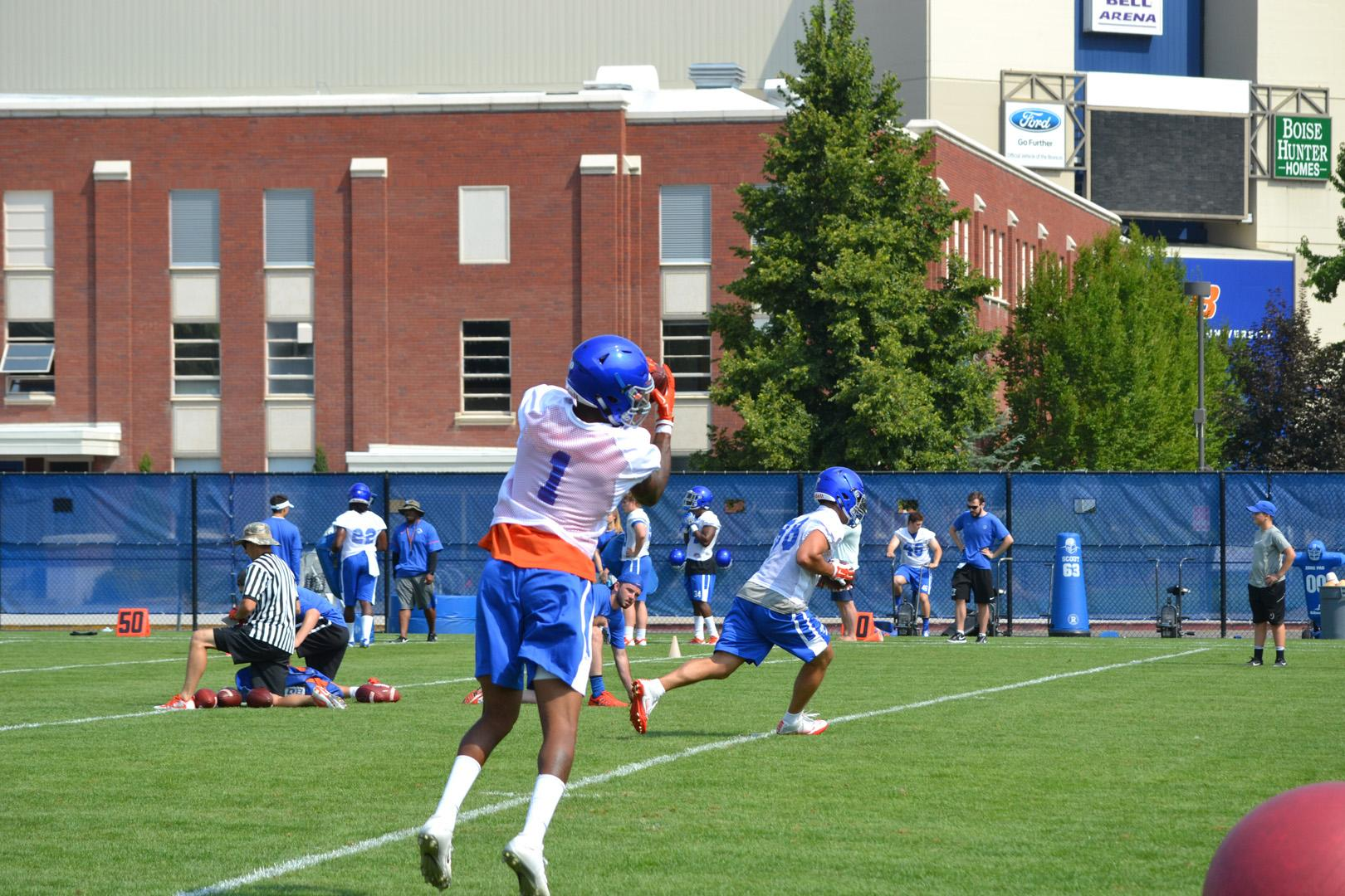 The Boise State Broncos held the first practice of the 2017 season Tuesday. (Photo by Bryan Levin)