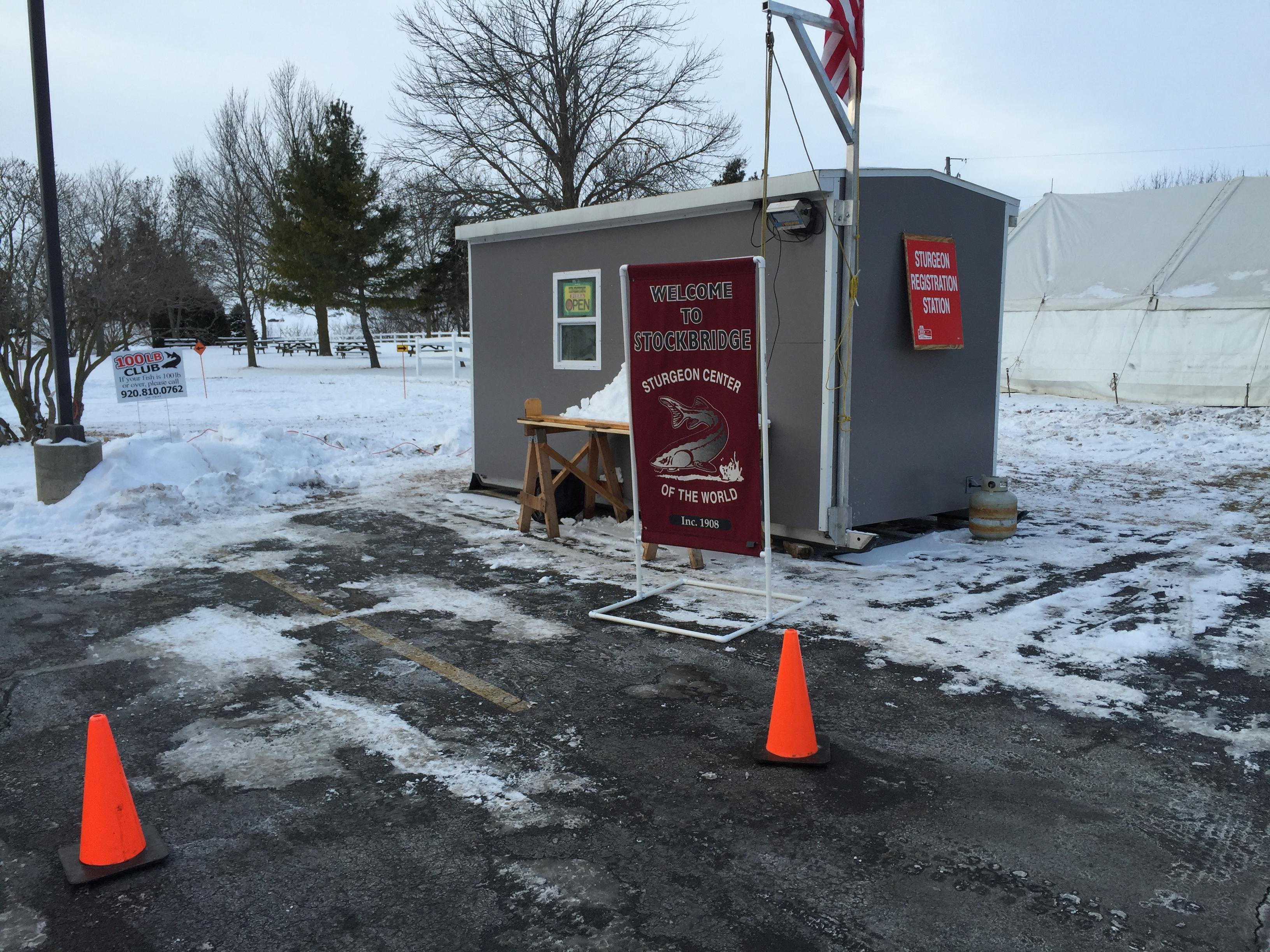 Sturgeon registration station at Stockbridge on Saturday, Feb. 10, 2018. (WLUK/Eric Peterson)