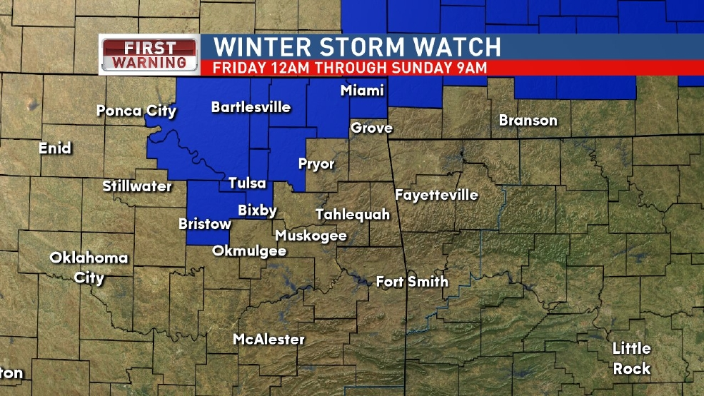 Winter Storm Watch issued for much of Green Country through Sunday morning