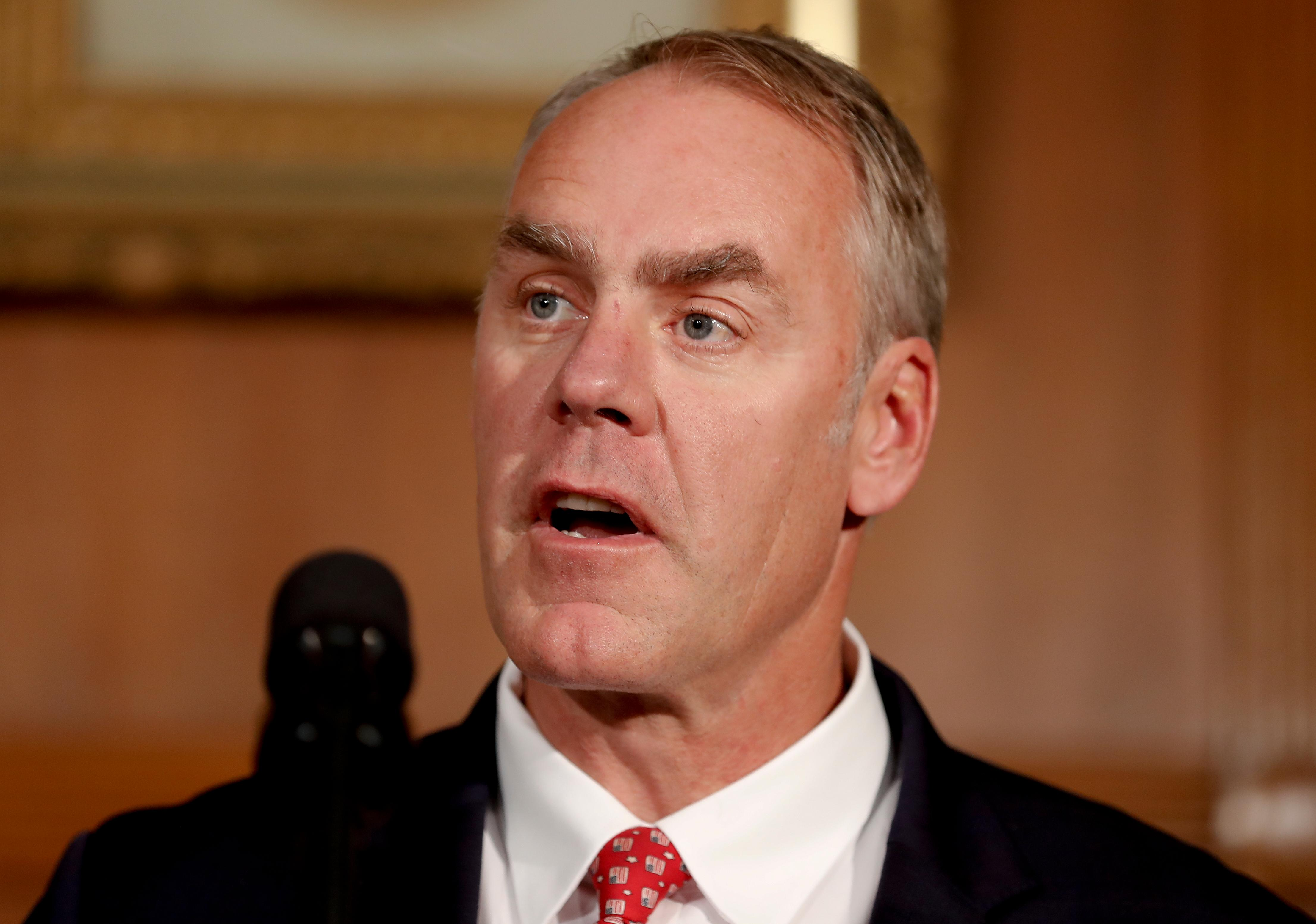 In this photo taken April 26, 2017, Interior Secretary Ryan Zinke speaks at the Interior Department in Washington. Ryan Zinke is recommending that the new Bears Ears National Monument in Utah be reduced in size and says Congress should step in to designate how selected areas of the 1.3 million-acre site are categorized.  (AP Photo/Carolyn Kaster)