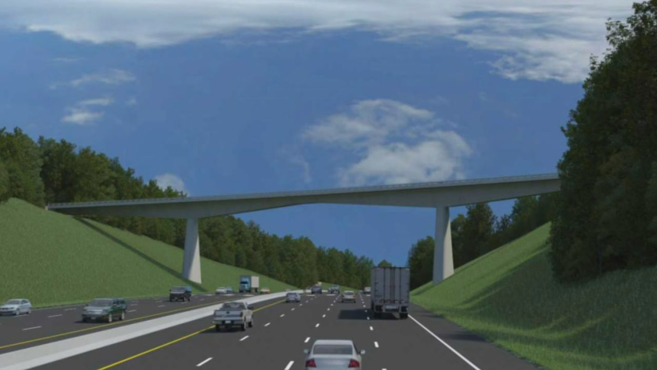 The Blue Ridge Parkway bridge that goes over Interstate 26 will be replaced as part of the I-26 widening project. (Photo credit: NCDOT)