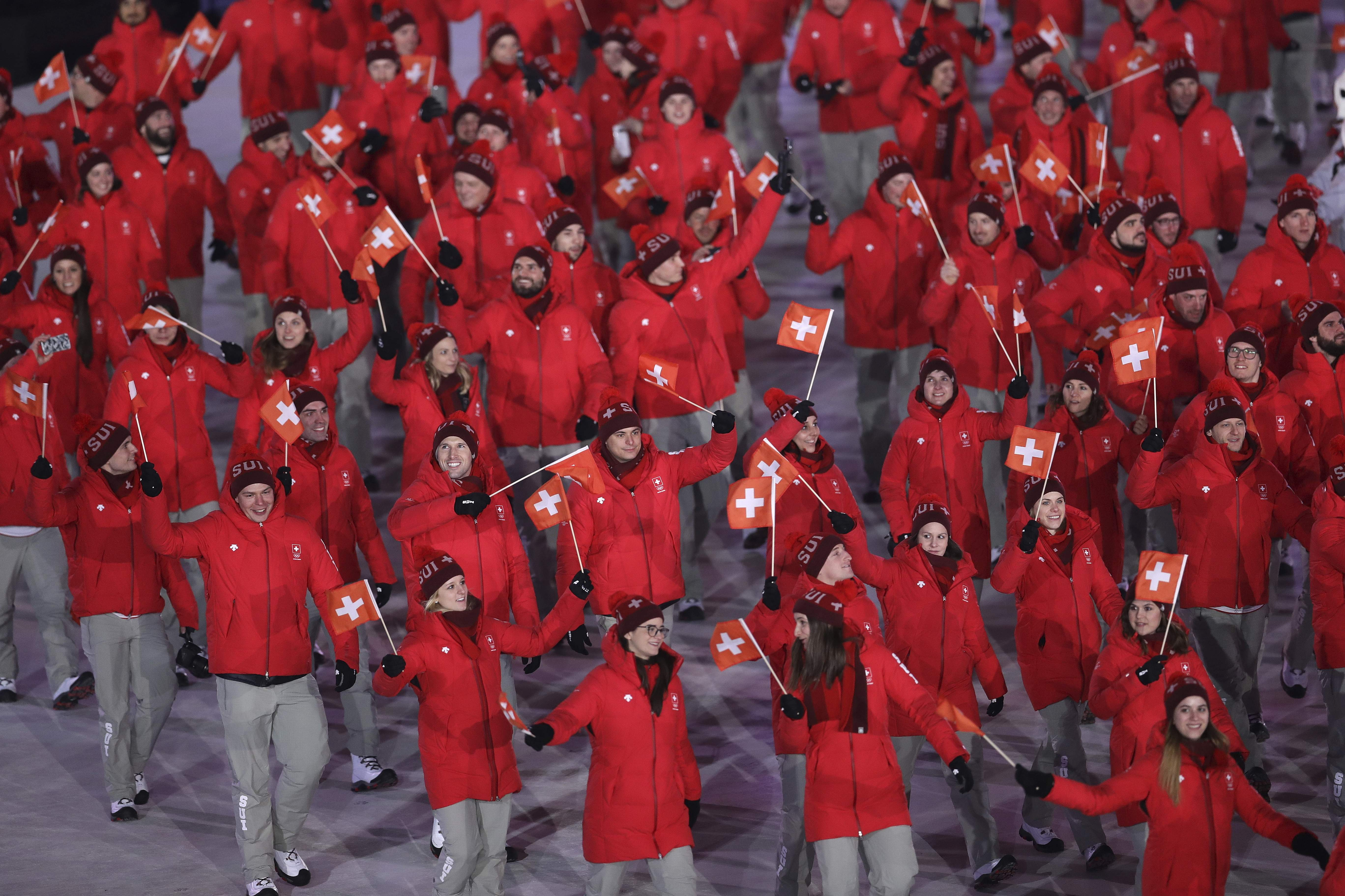 Switzerland during the opening ceremony of the 2018 Winter Olympics in Pyeongchang, South Korea, Friday, Feb. 9, 2018. (AP Photo/Michael Sohn)