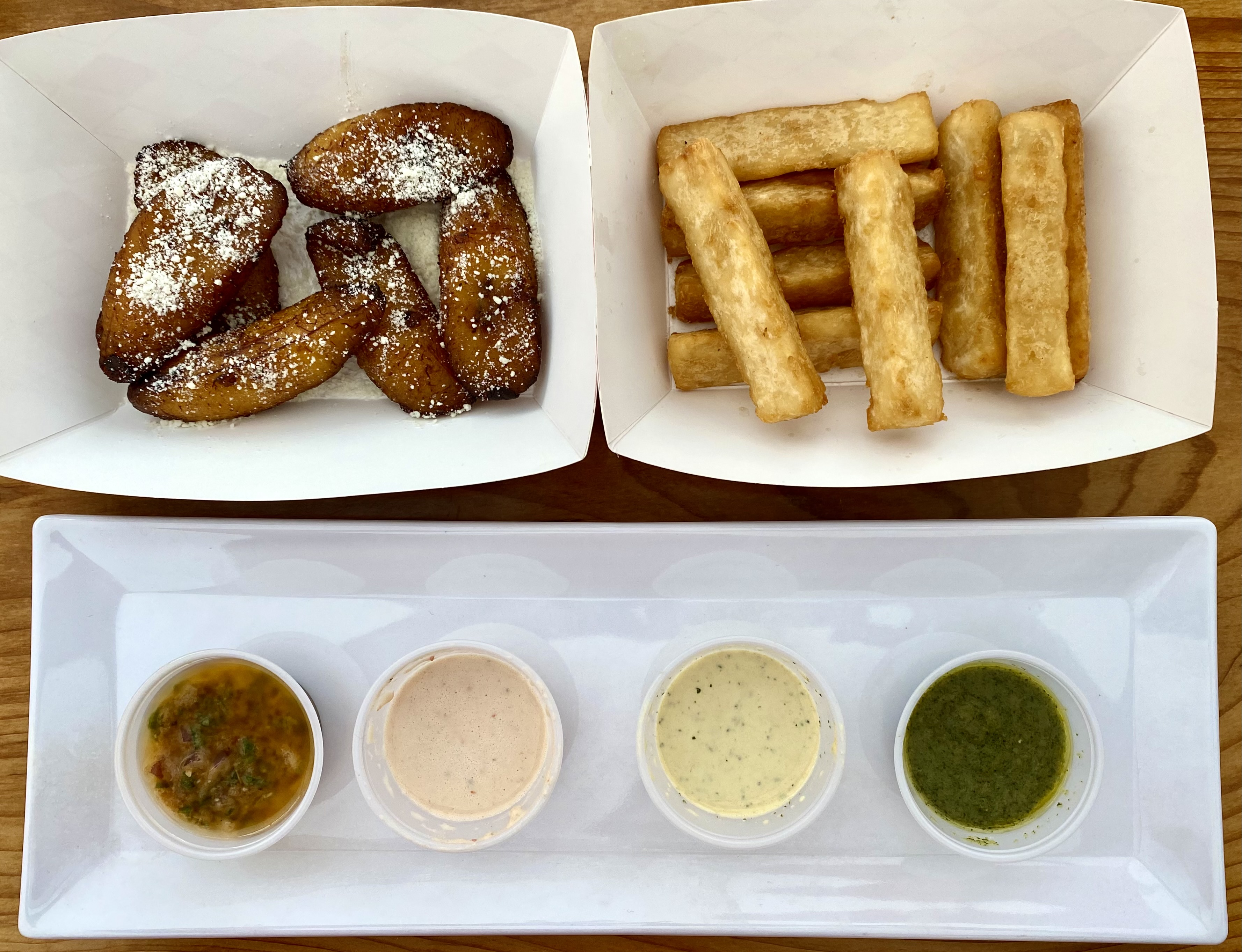 Fried Plantains and Yuca Fries with dipping sauces{ } (Image: Karen Rose / Seattle Refined)