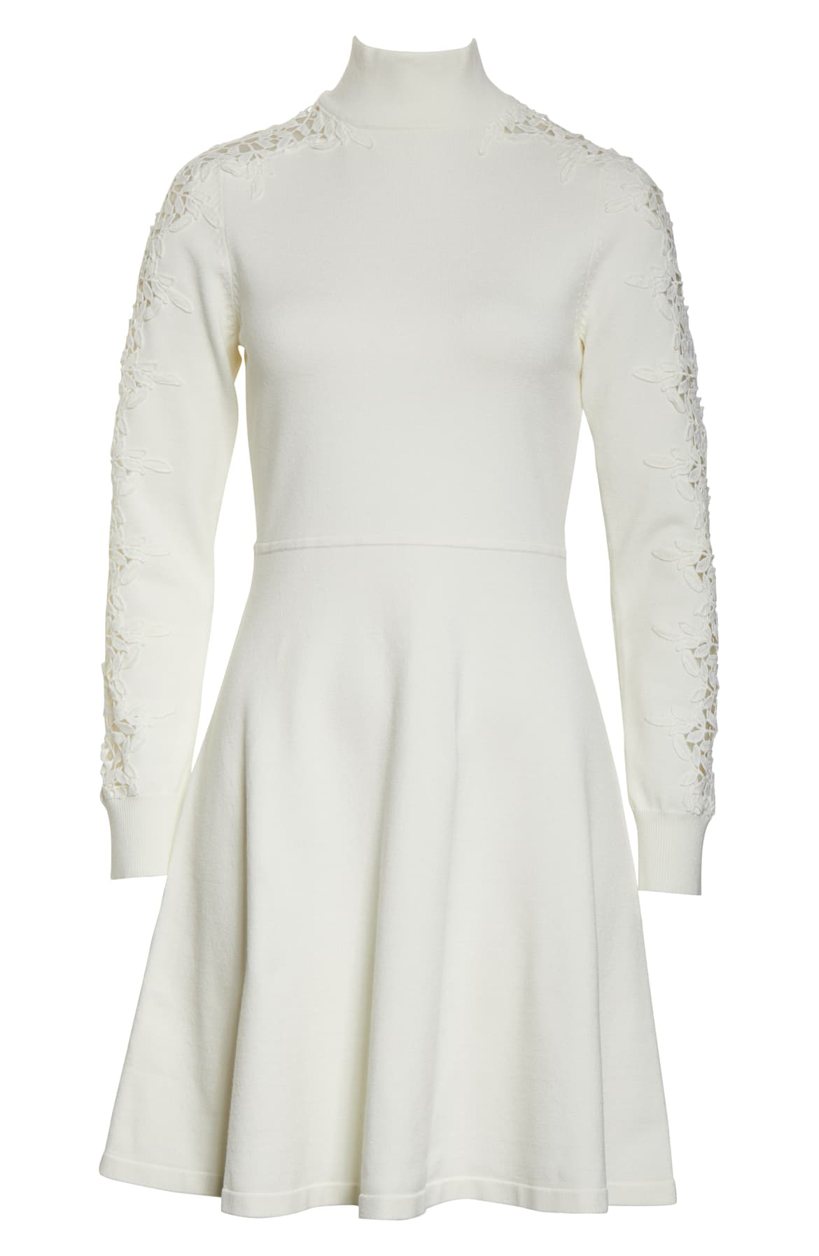 Long split sleeves are bridged by leafy, branching lace on this shapely fit-and-flare sweater-dress topped by an elegant high mock neck. $148.{ }Shop the Look{ }(Image: Nordstrom){ }