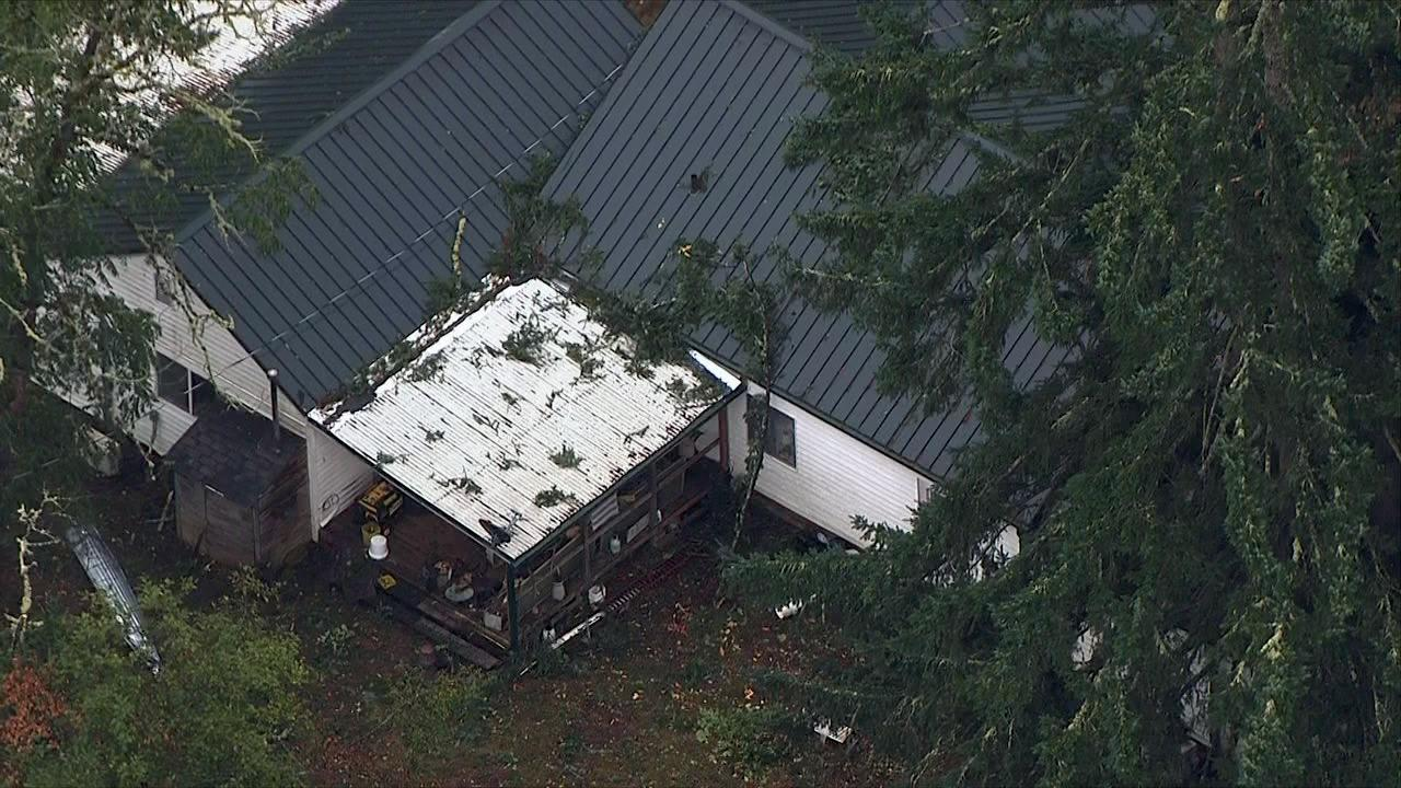 A possible tornado blew debris onto this home in Lacomb, Oregon on Tuesday, Sept. 19, 2017. (Photo: Chopper 2/KATU News)