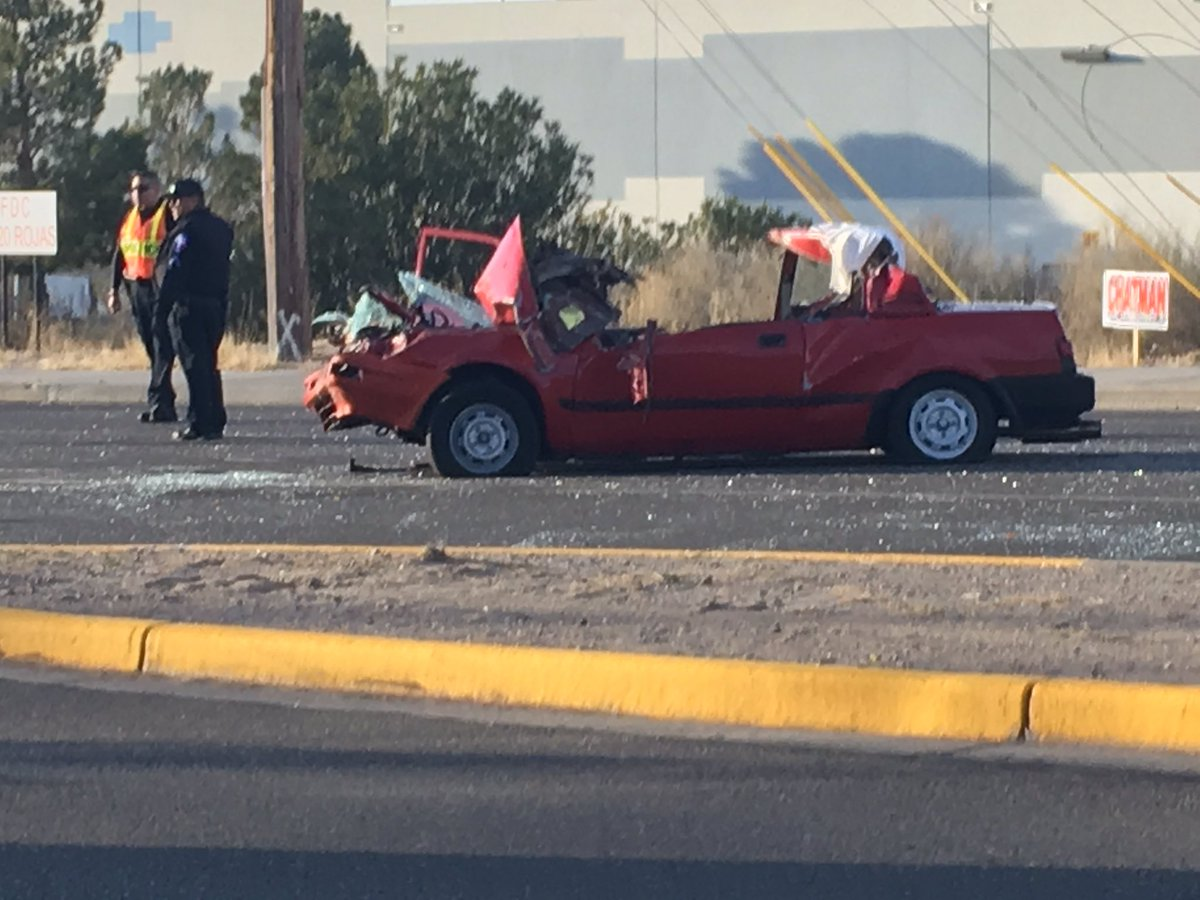 A vehicle slammed into the back of a Socorro ISD school bus Friday morning, Feb. 2, 2018. (Credit: KFOX14/CBS4)