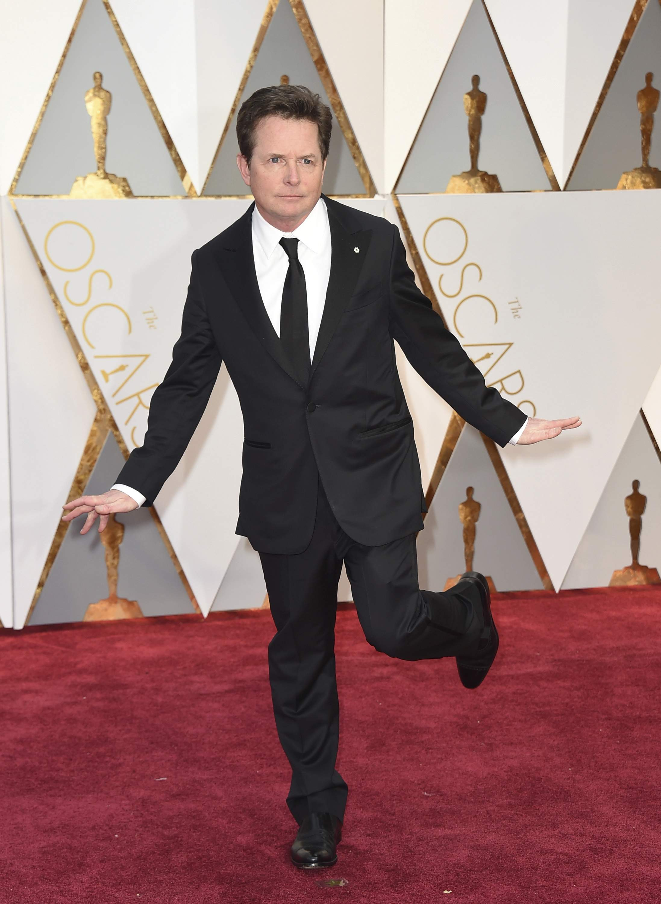 Michael J. Fox arrives at the Oscars on Sunday, Feb. 26, 2017, at the Dolby Theatre in Los Angeles. THE ASSOCIATED PRESS