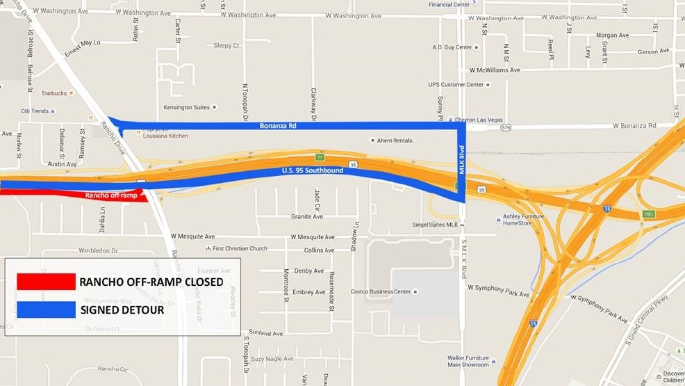 Road work watch US 95 SB exit to Rancho closes tonight other