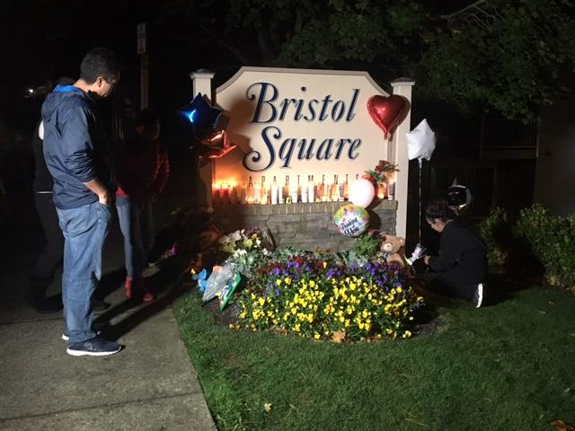 A memorial grows outside the apartment complex where the body of 6-year-old Dayvid Pakko was found in a trash bin after an intensive overnight search. (Photo: KOMO News)<p></p>