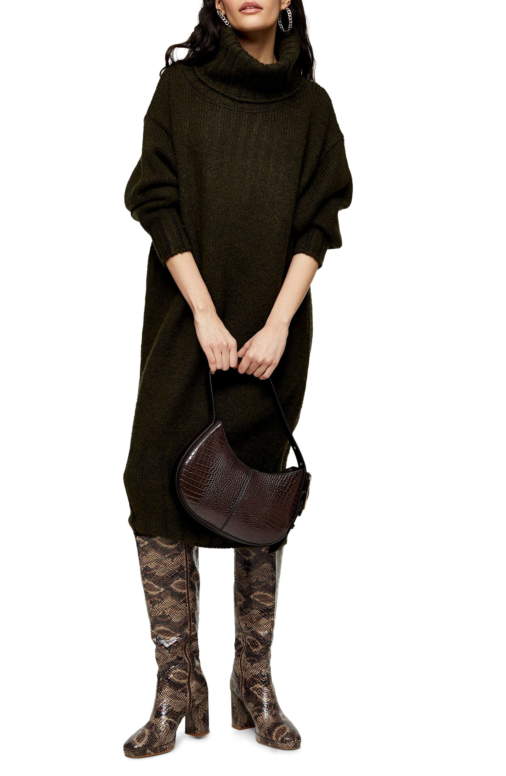 Wrap yourself up in cozy comfort with this big, slouchy sweater-dress with a chunky cowl neck and wide ribbed hem. (Image: Nordstrom){ }