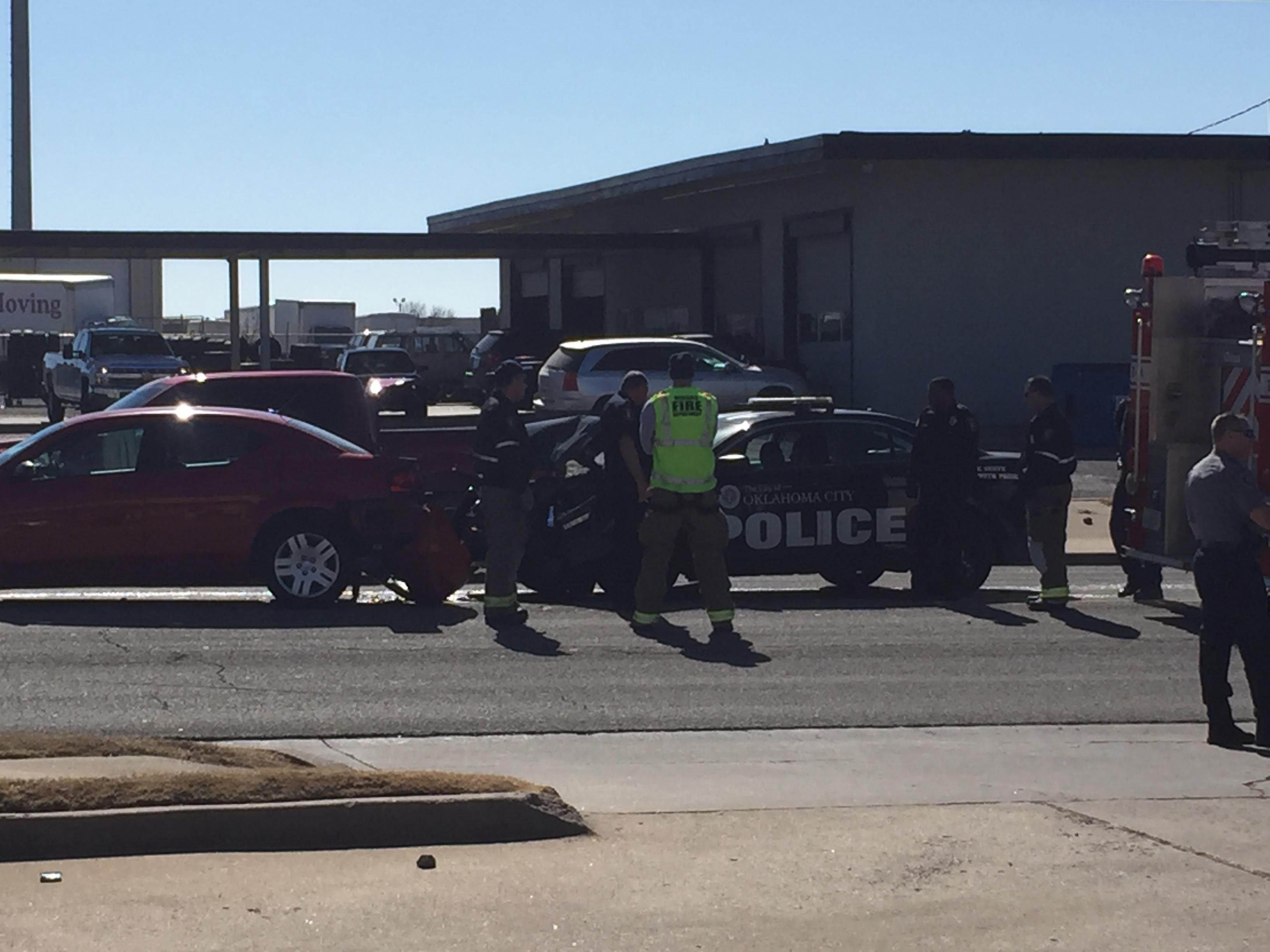 An Oklahoma City Police Department officer was injured in a crash involving several vehicles Feb. 7 in Moore. (KOKH/Matt Coon)