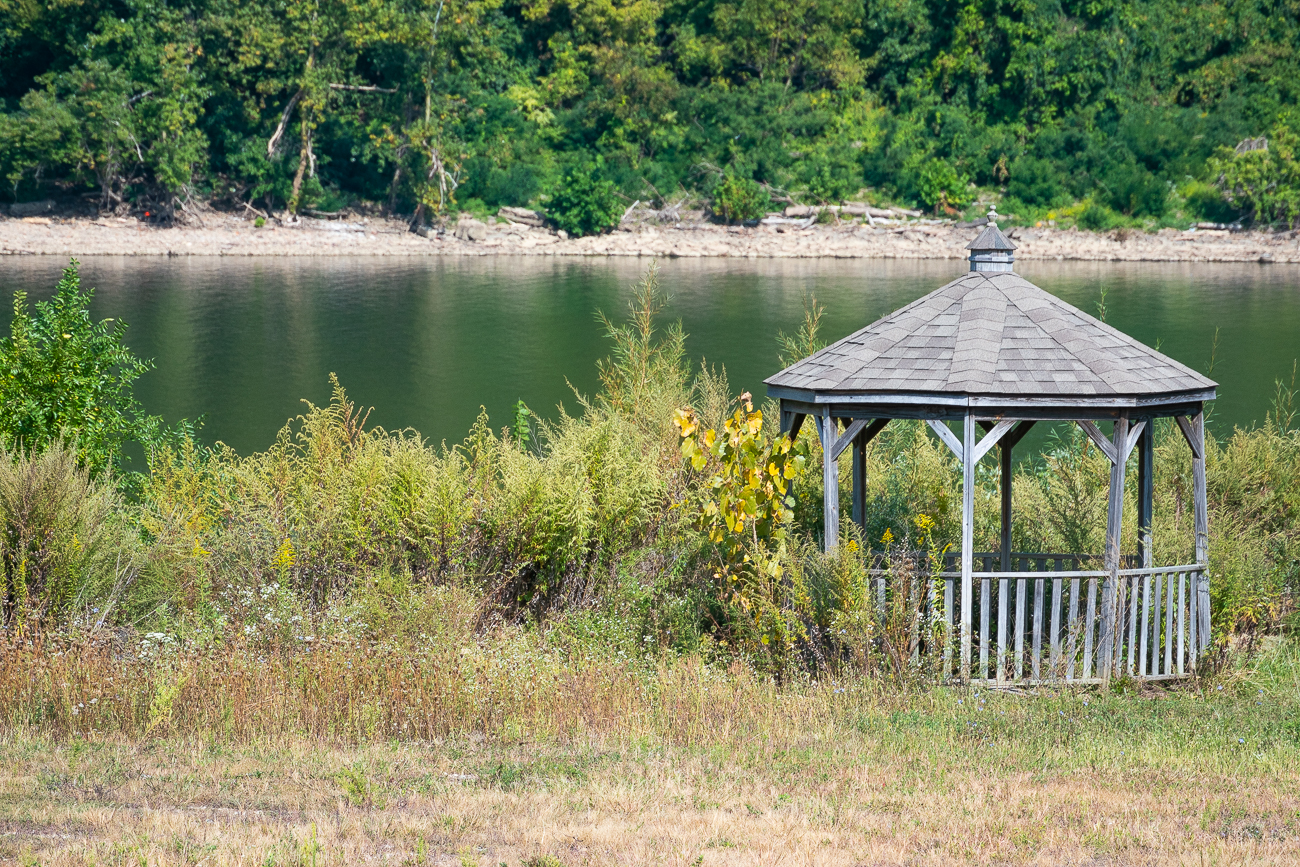 A lone gazebo near the edge of a property. / Image: Phil Armstrong // Published: 9.27.20