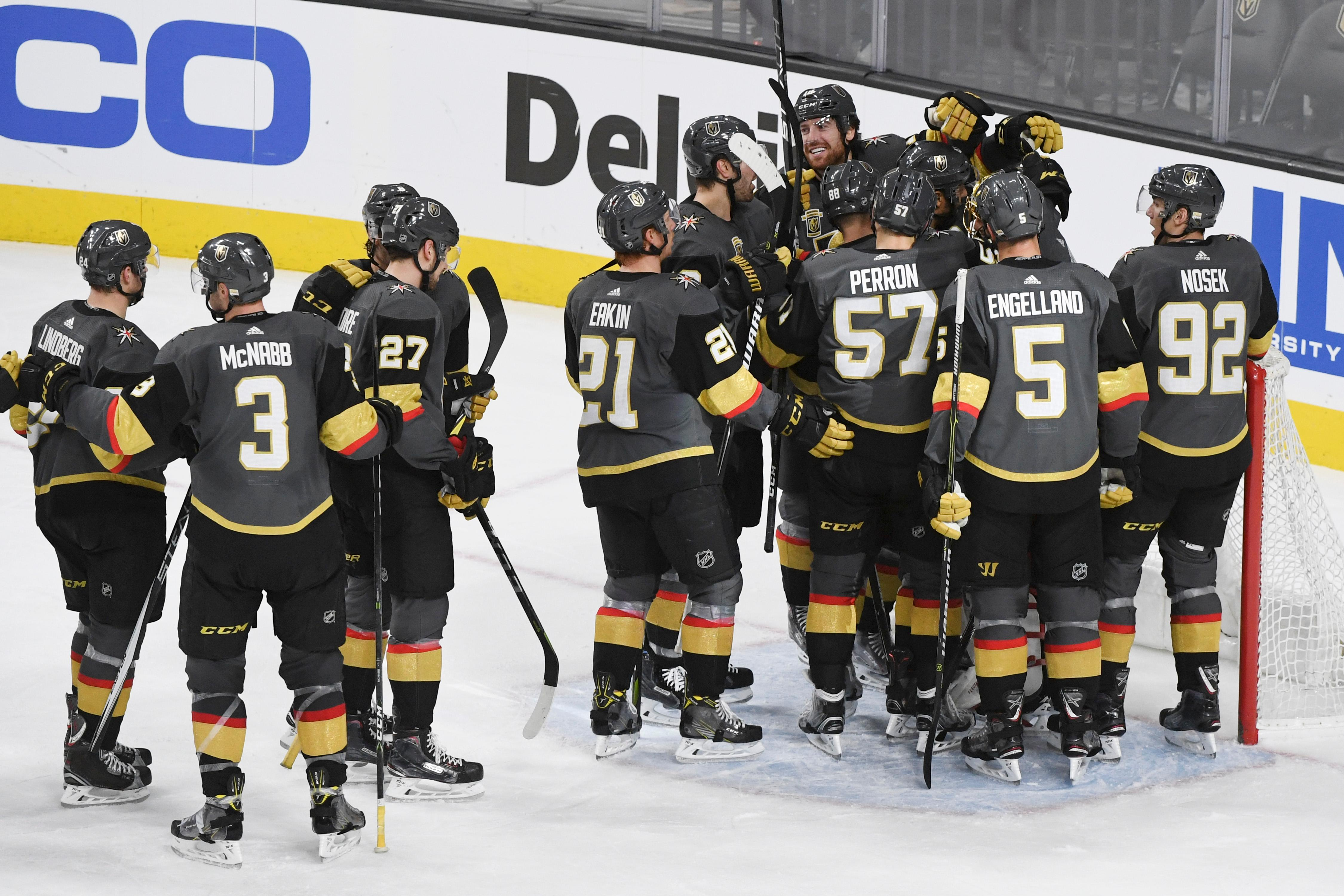 The Vegas Golden Knights celebrate the 3-0 win against the Washington Capitals during their NHL hockey game Saturday, December 23, 2017, at T-Mobile Arena in Las Vegas.  CREDIT: Sam Morris/Las Vegas News Bureau