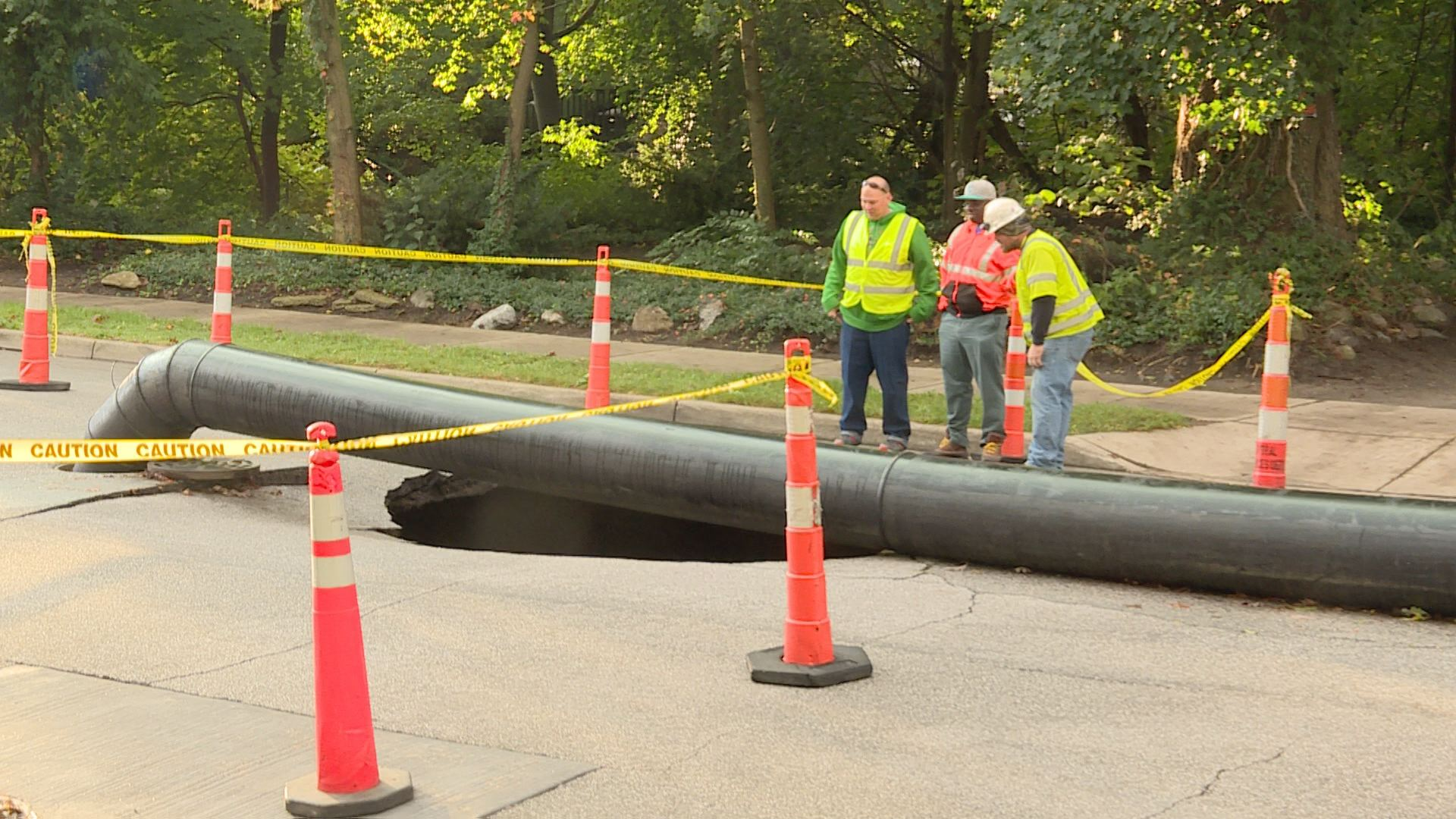 Sinkhole in the area of a construction project on E. Indiana Ave. in South Bend // WSBT 22 photo{ }