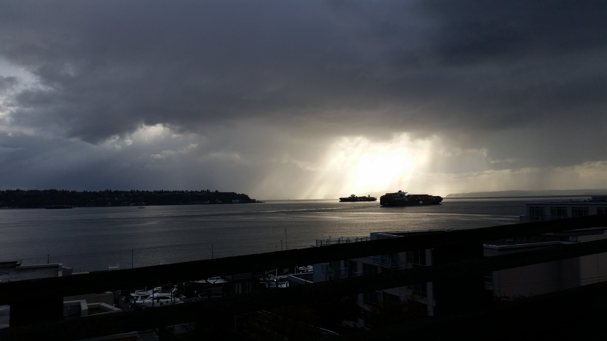 Storm clouds are seen over Puget Sound, Tuesday, April 18, 2017. (Photo: David Nyro)