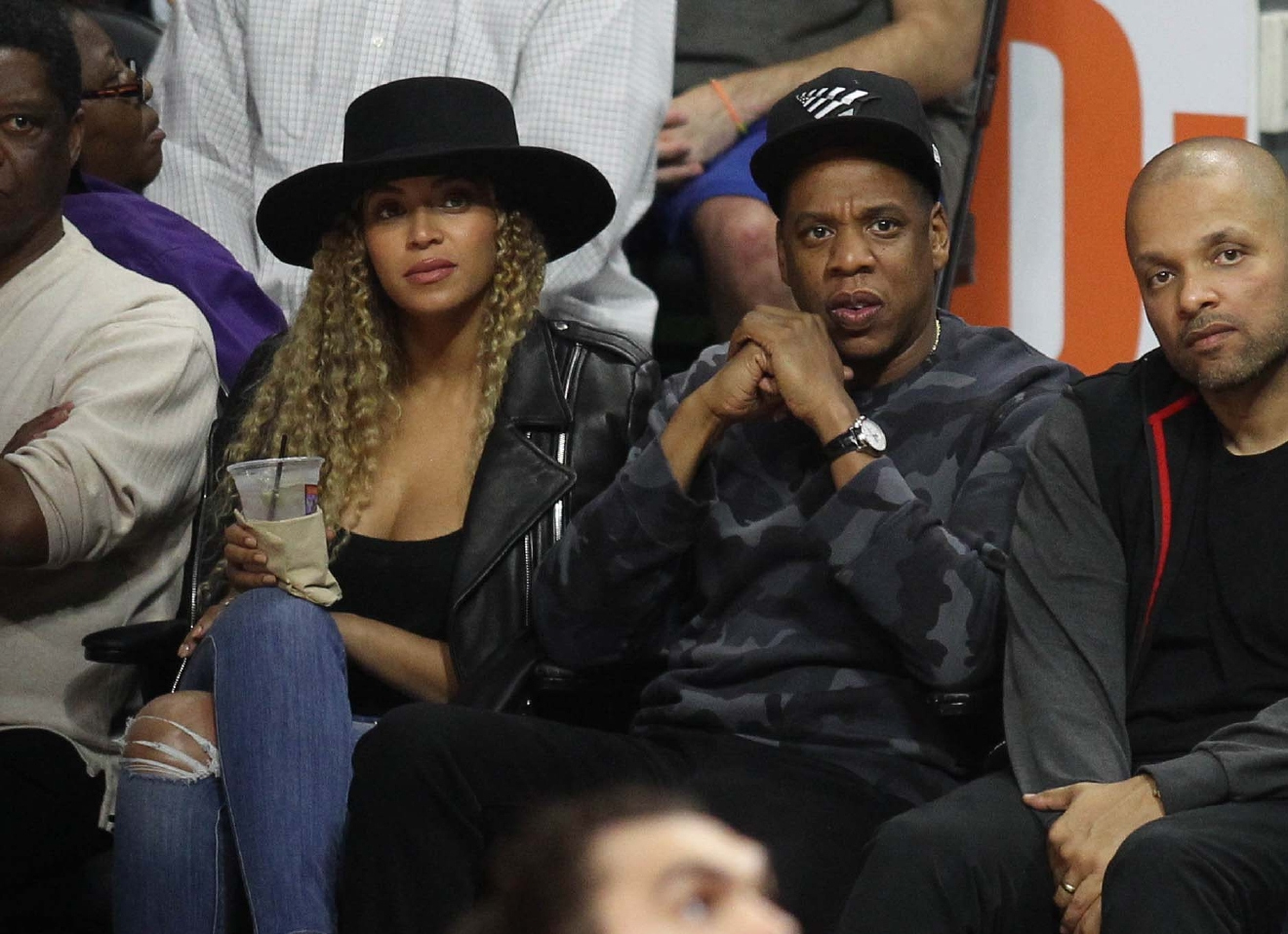 Beyonce and Jay-Z at the Los Angeles Clippers game at Staples Center in downtown Los Angeles on March 2, 2016. (WENN.com)
