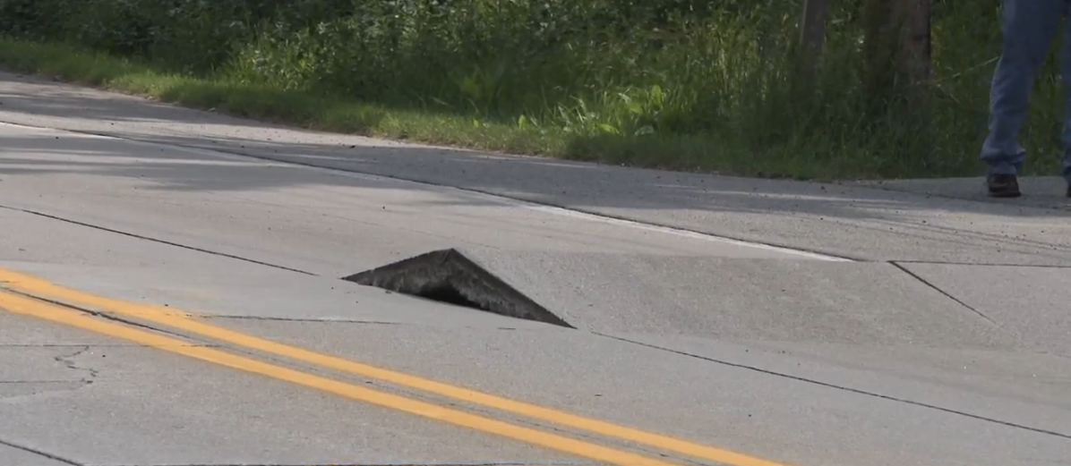 Part of Bremen Highway in Mishawaka has buckled again. // WSBT 22